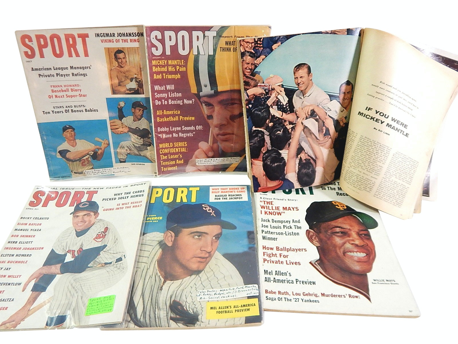 "1957 to 1963 ""Sport"" Magazines with Mantle, Mays, F. Robinson, More"