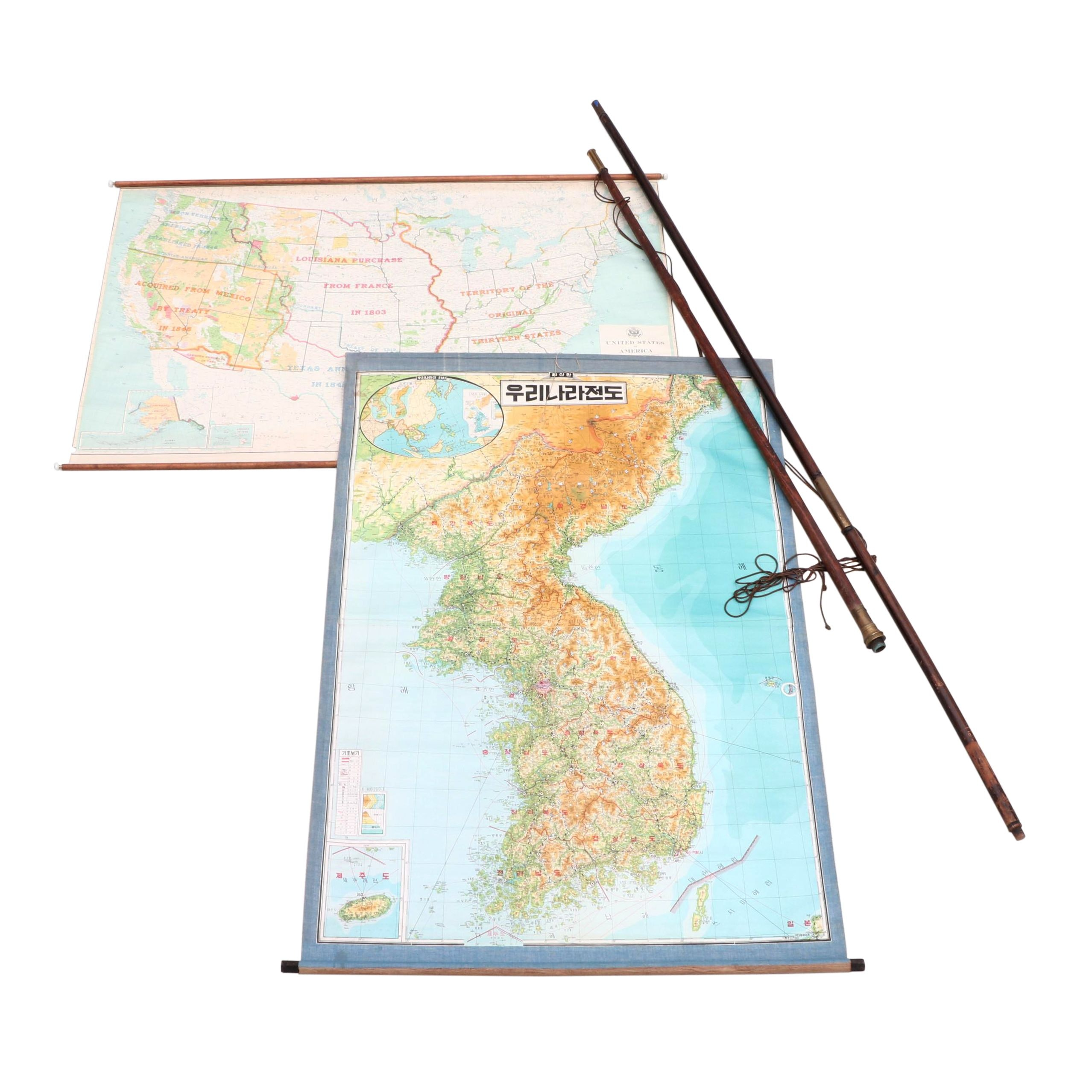 Wood and Brass Flagpoles and Classroom Maps of Korea and The United States