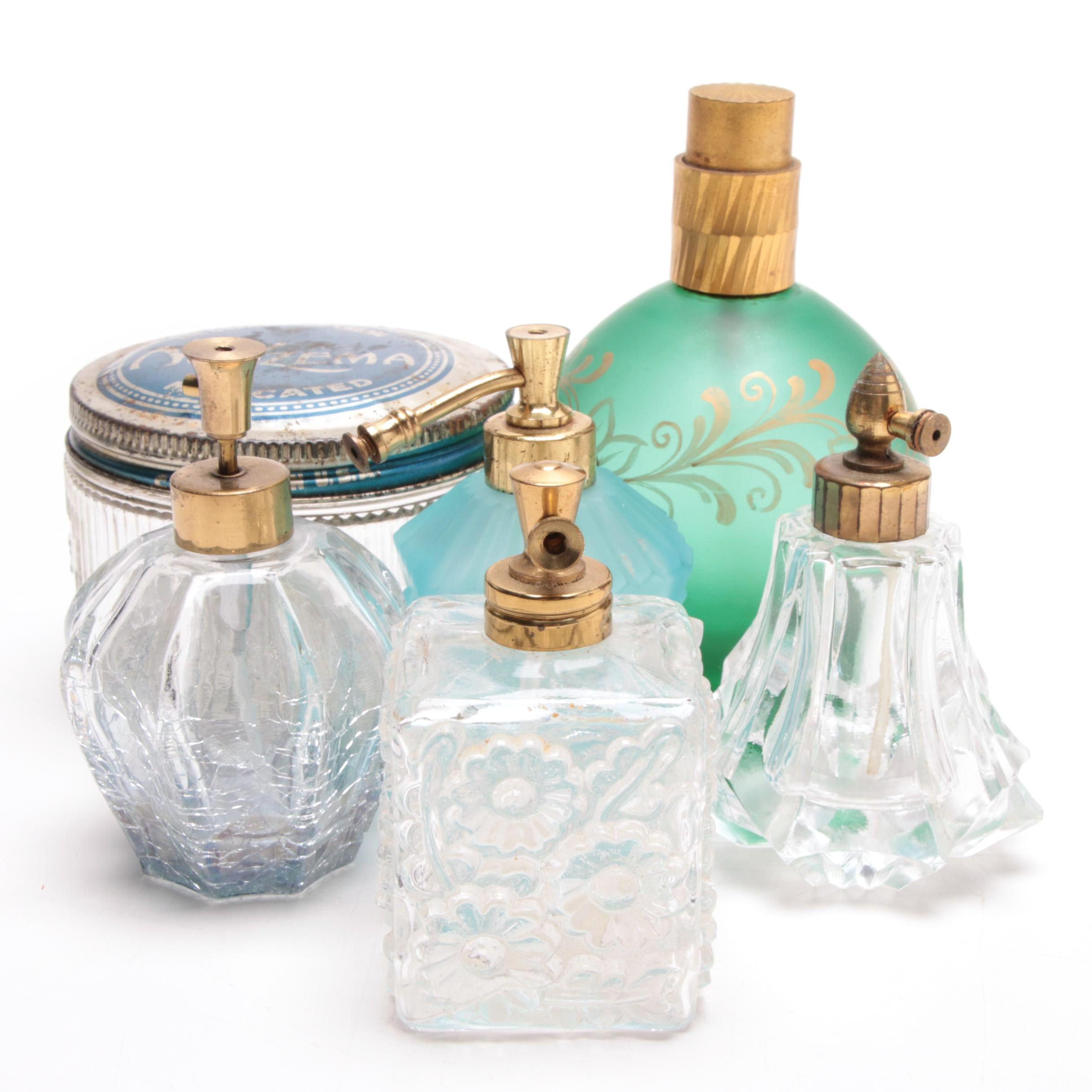 Glass Perfume Bottles and Vanity Jar