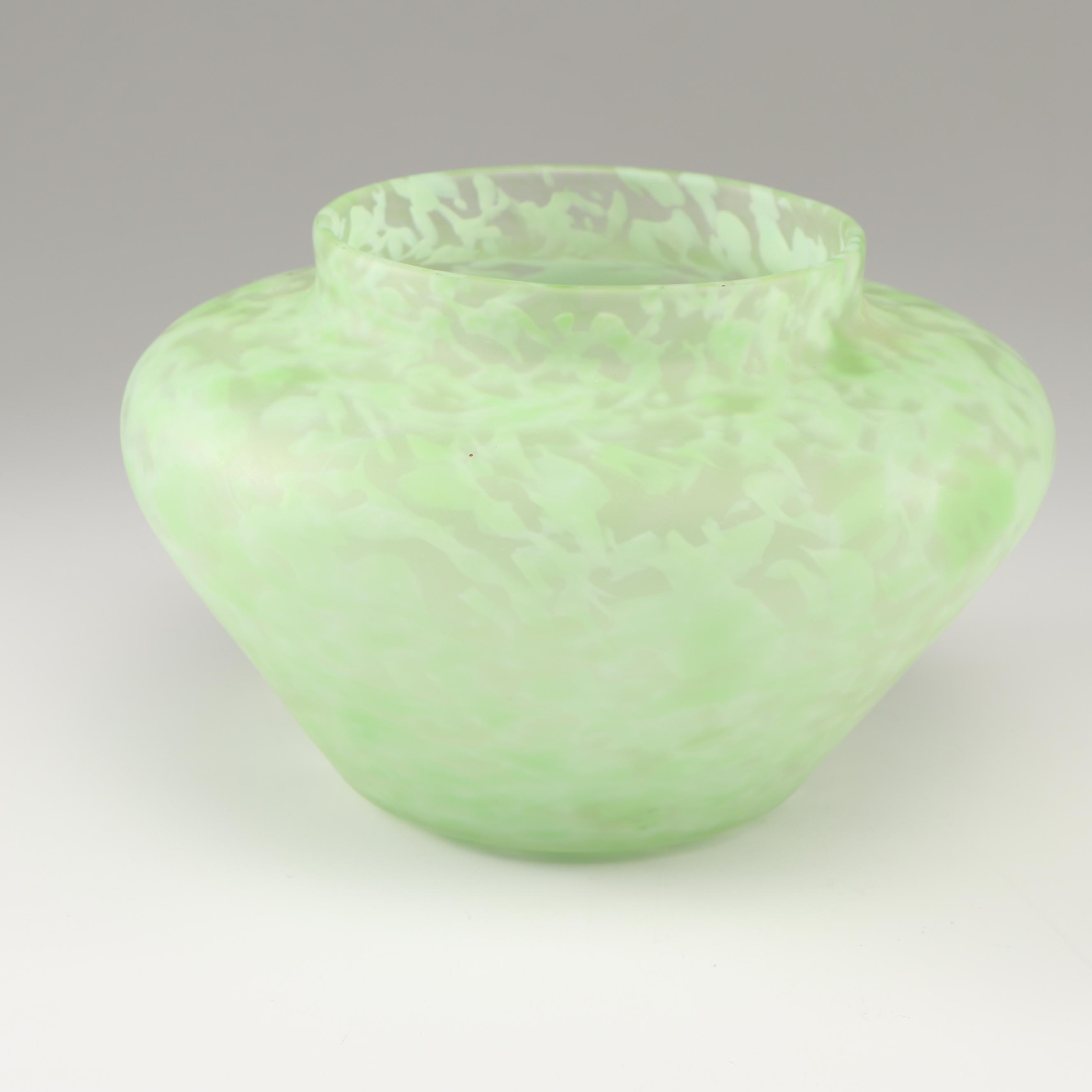 Steuben Green Mottled Art Glass Vase
