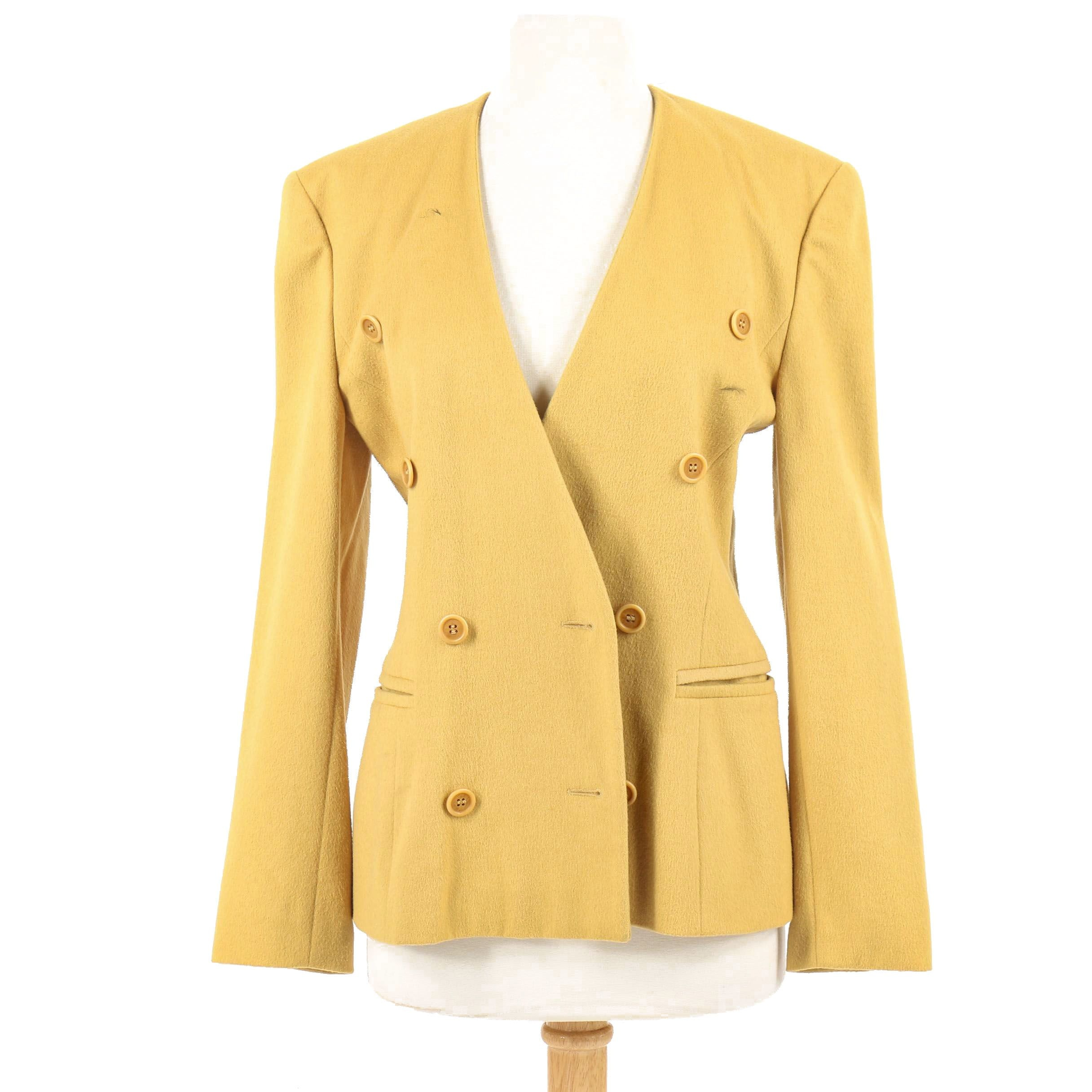 Escada Mustard Yellow Wool and Cashmere Blend Double-Breasted Jacket, Vintage