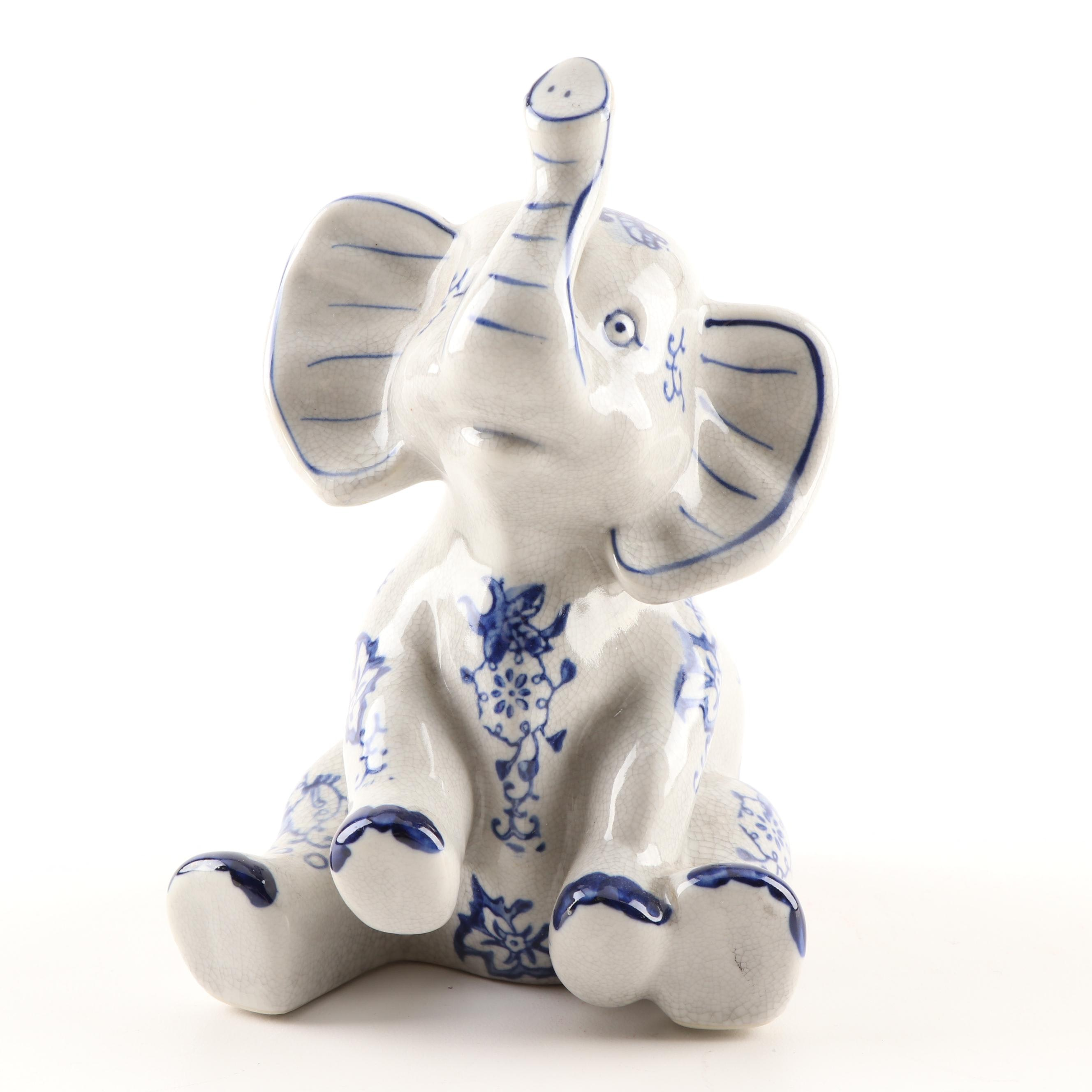 """Formalities"" Painted Ceramic Elephant Figurine by Baum Brothers"