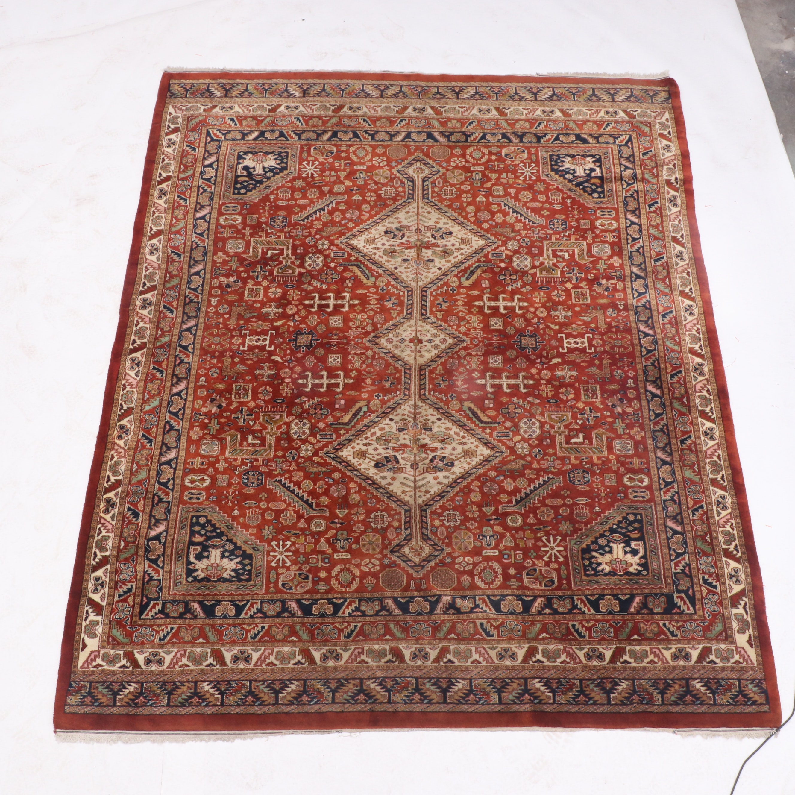 Hand-Knotted Indo-Persian Shiraz Wool Area Rug