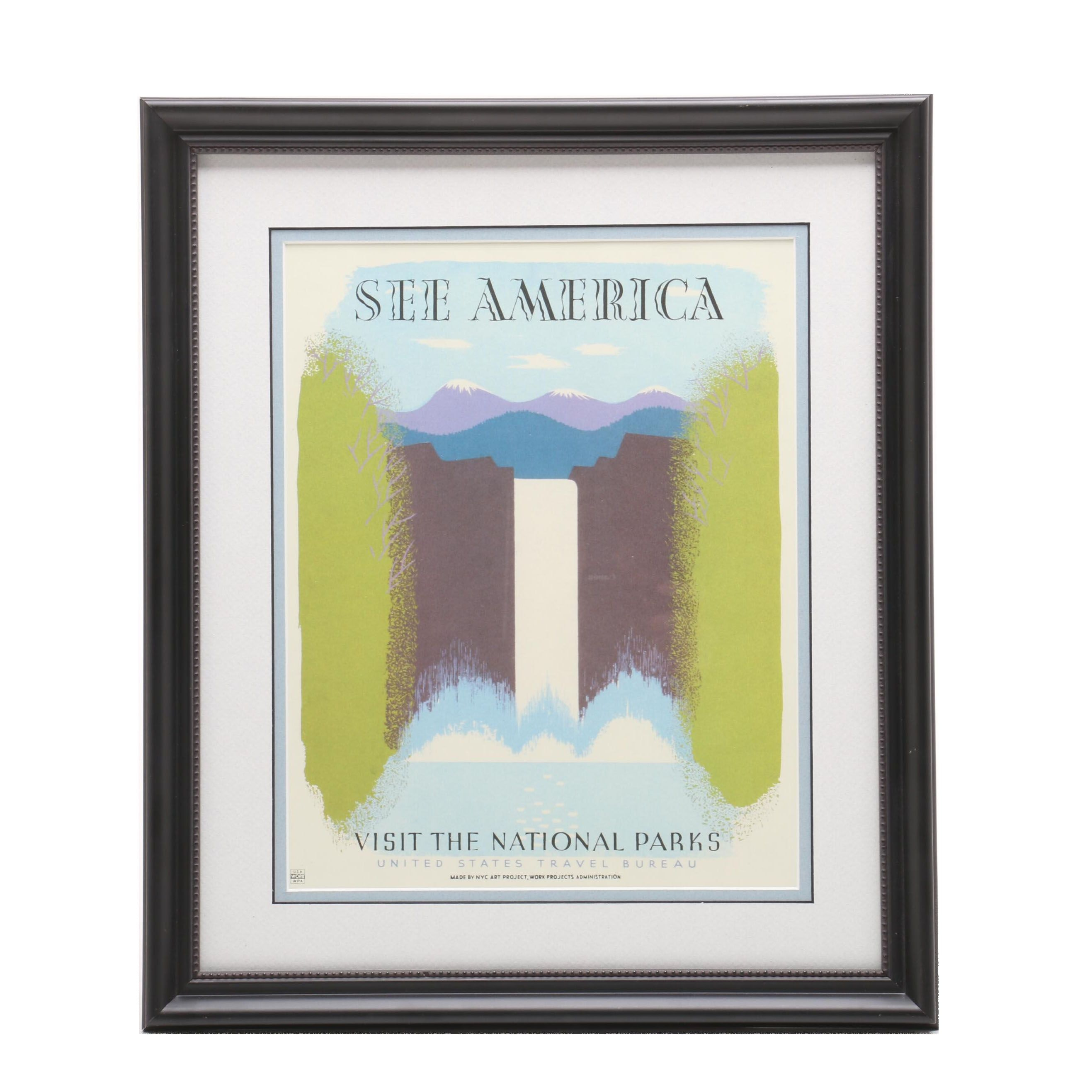 """Offset Lithographic WPA Travel Advertisement """"See America"""""""