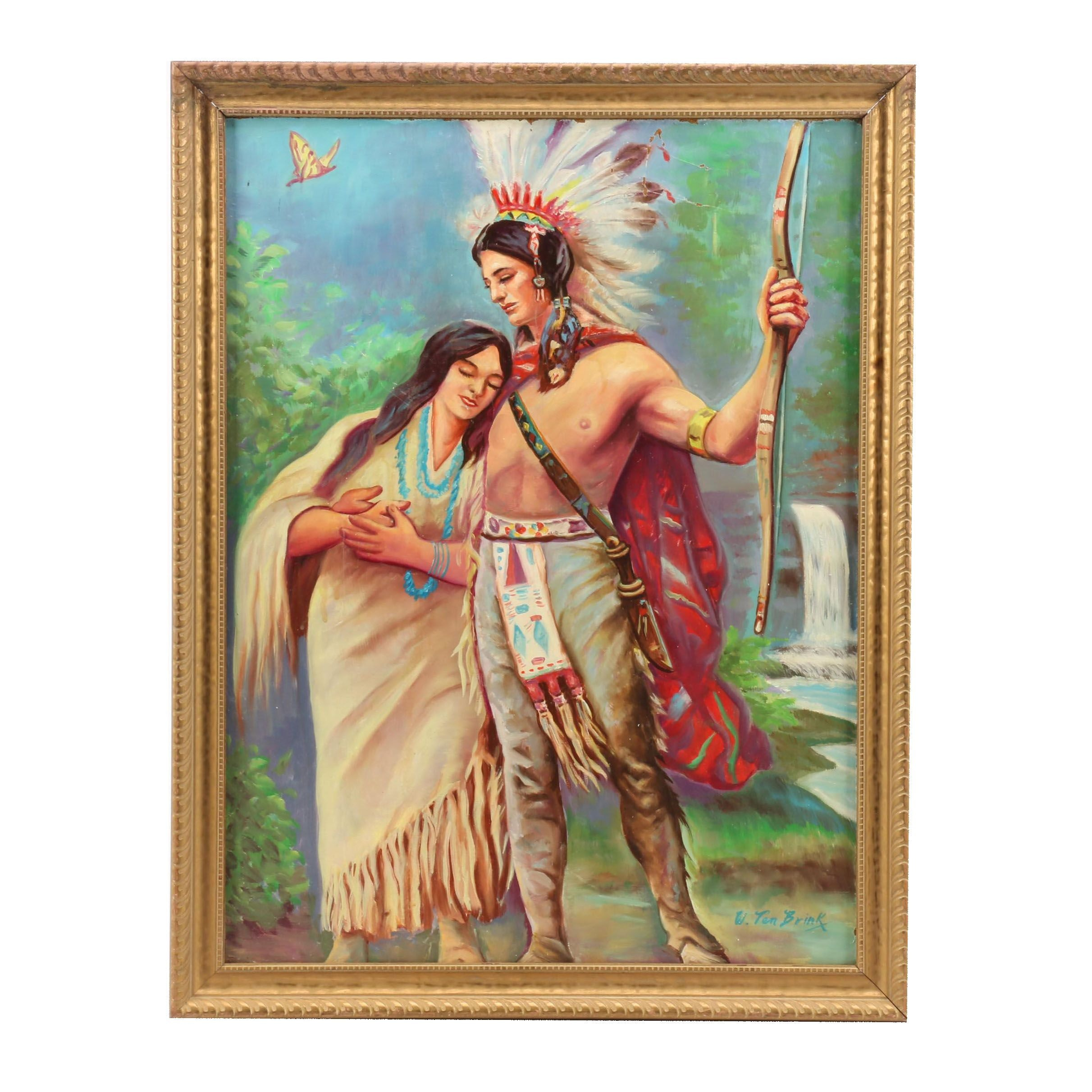 W. Ten Brink Oil Painting of Native American Couple