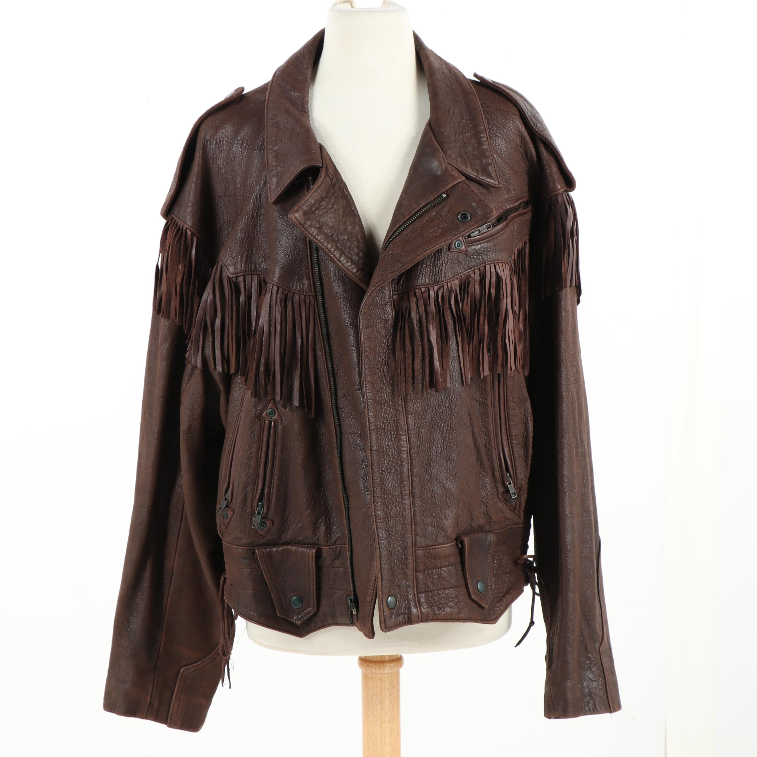 Michael Hoban for North Beach Brown Leather Jacket with Fringe