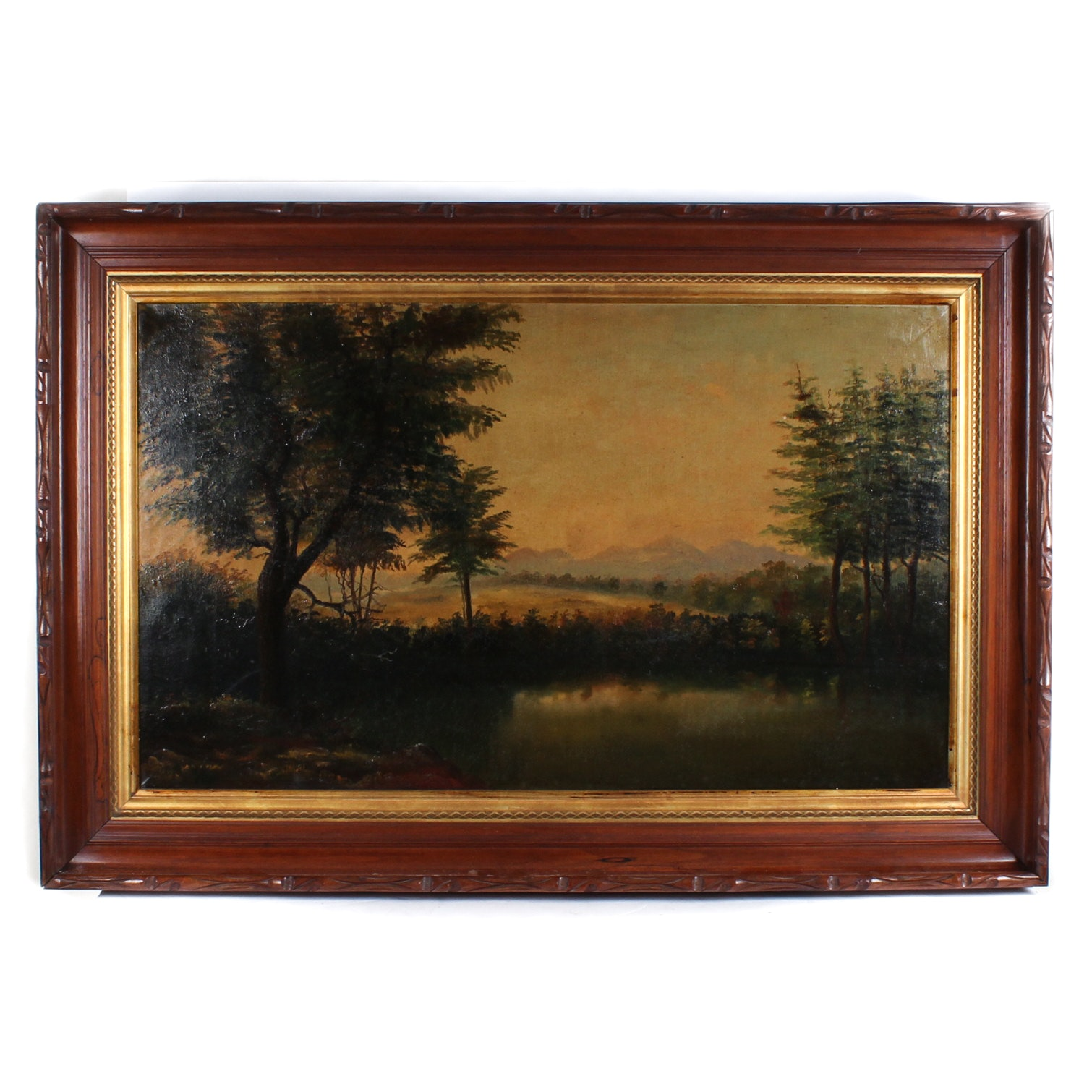 Antique Oil Painting on Canvas Landscape Scene
