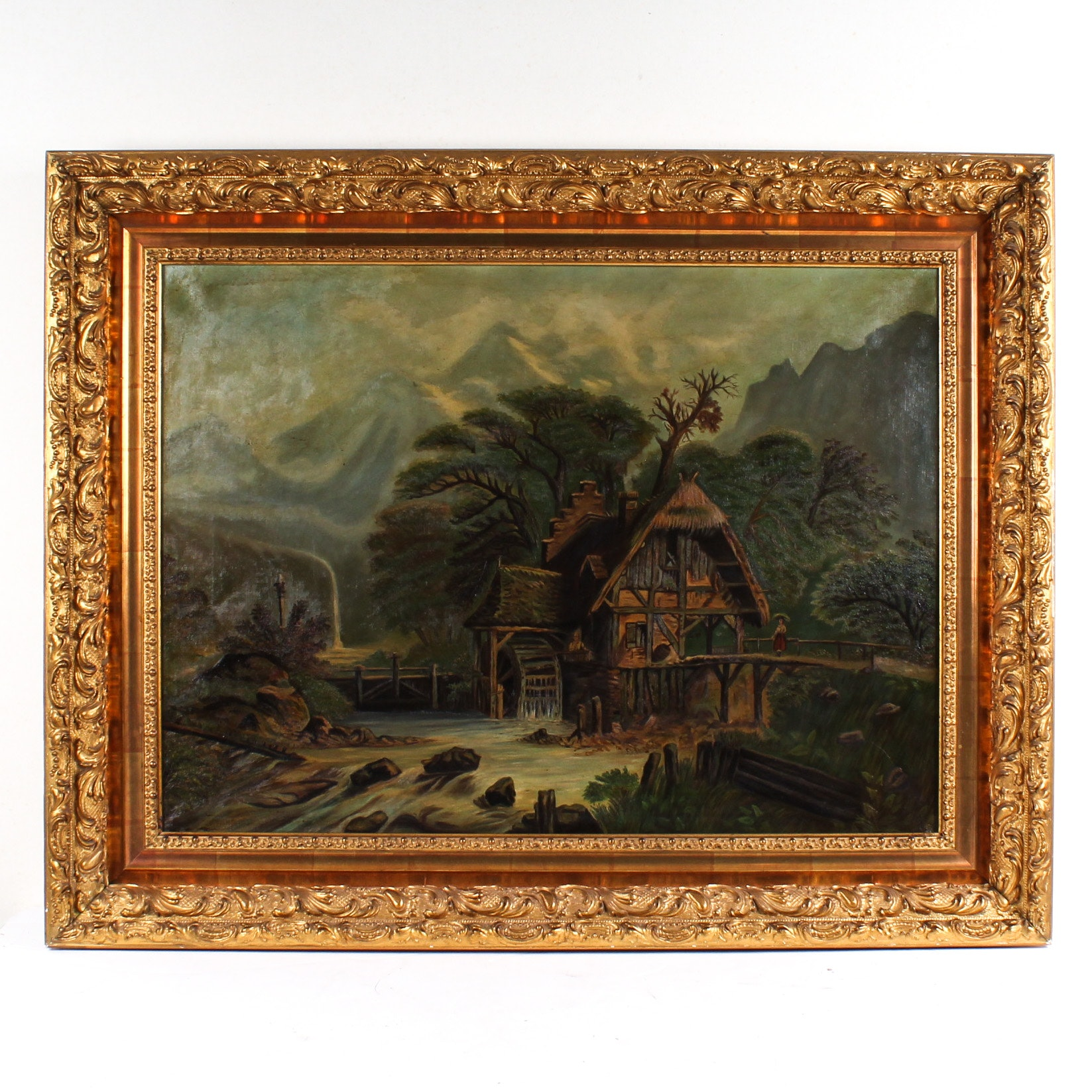 Oil Painting on Canvas Depicting Watermill