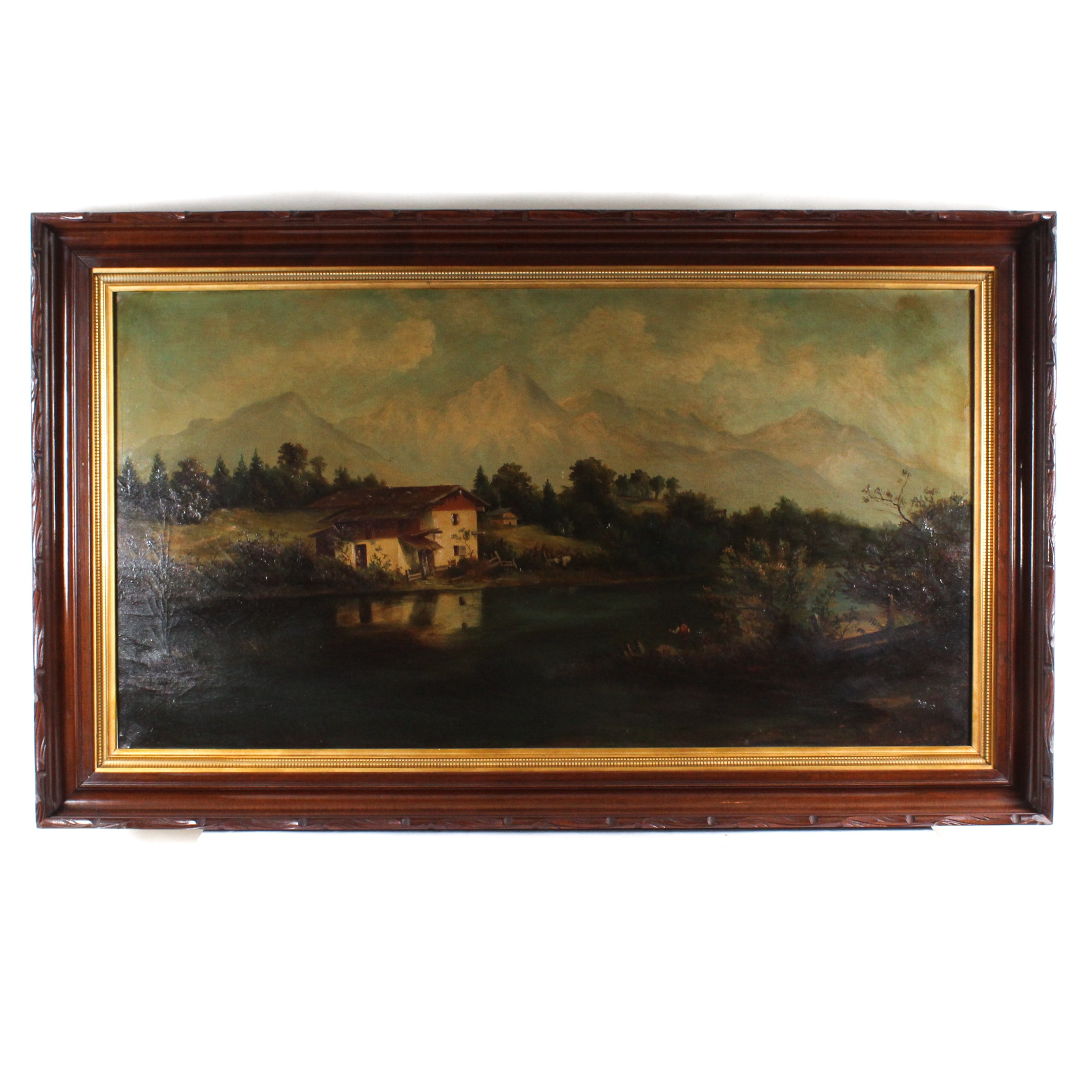 Antique Oil Painting of Lakeside Farmhouse