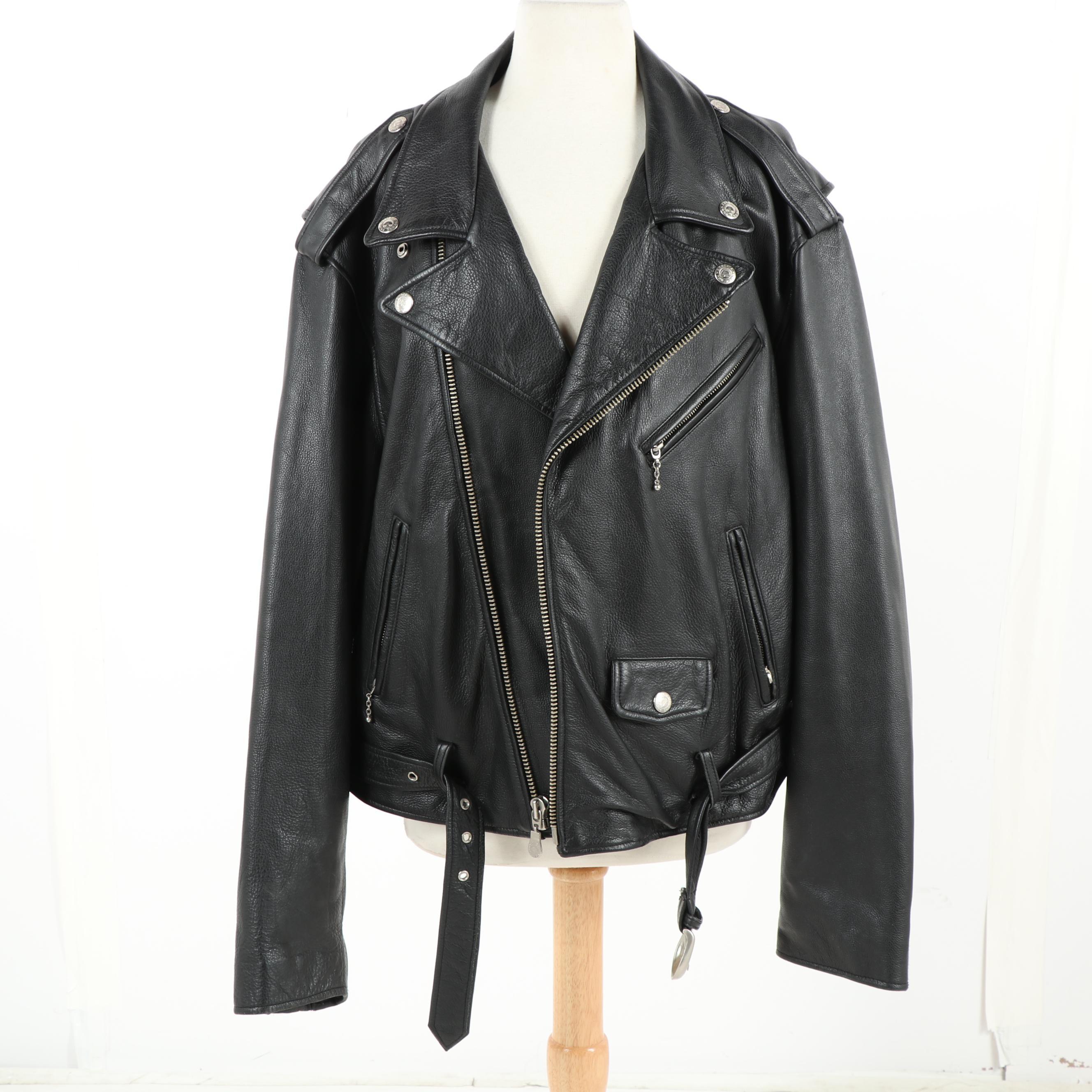 Men's Roundtree & York Black Leather Motorcycle Jacket