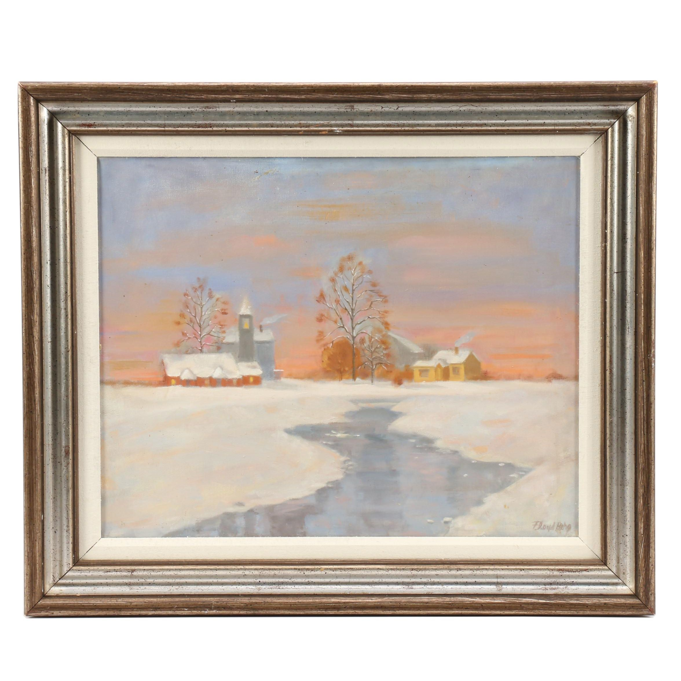 Floyd Berg Winter Landscape Oil Painting