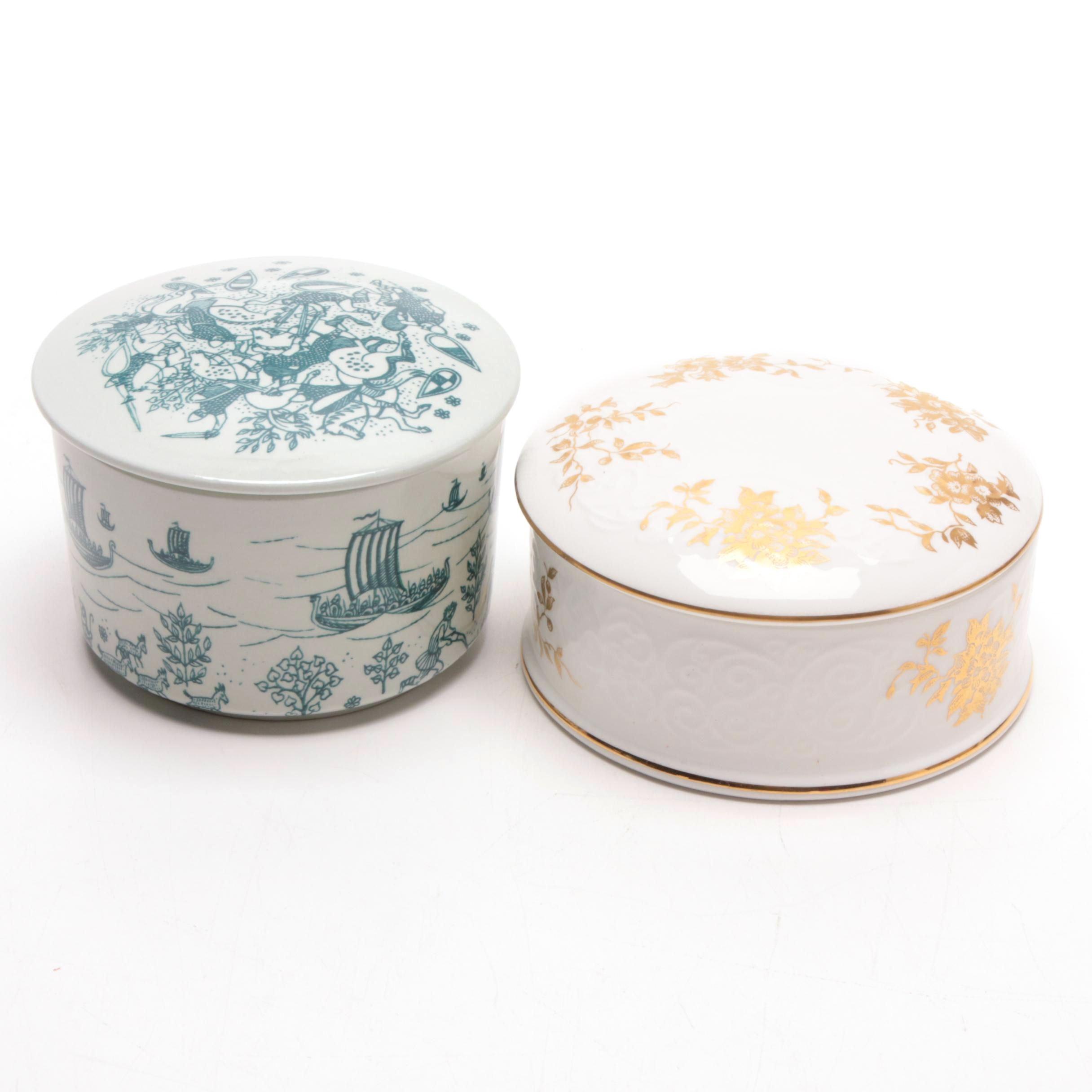 Danish and English Ceramic Vanity Boxes