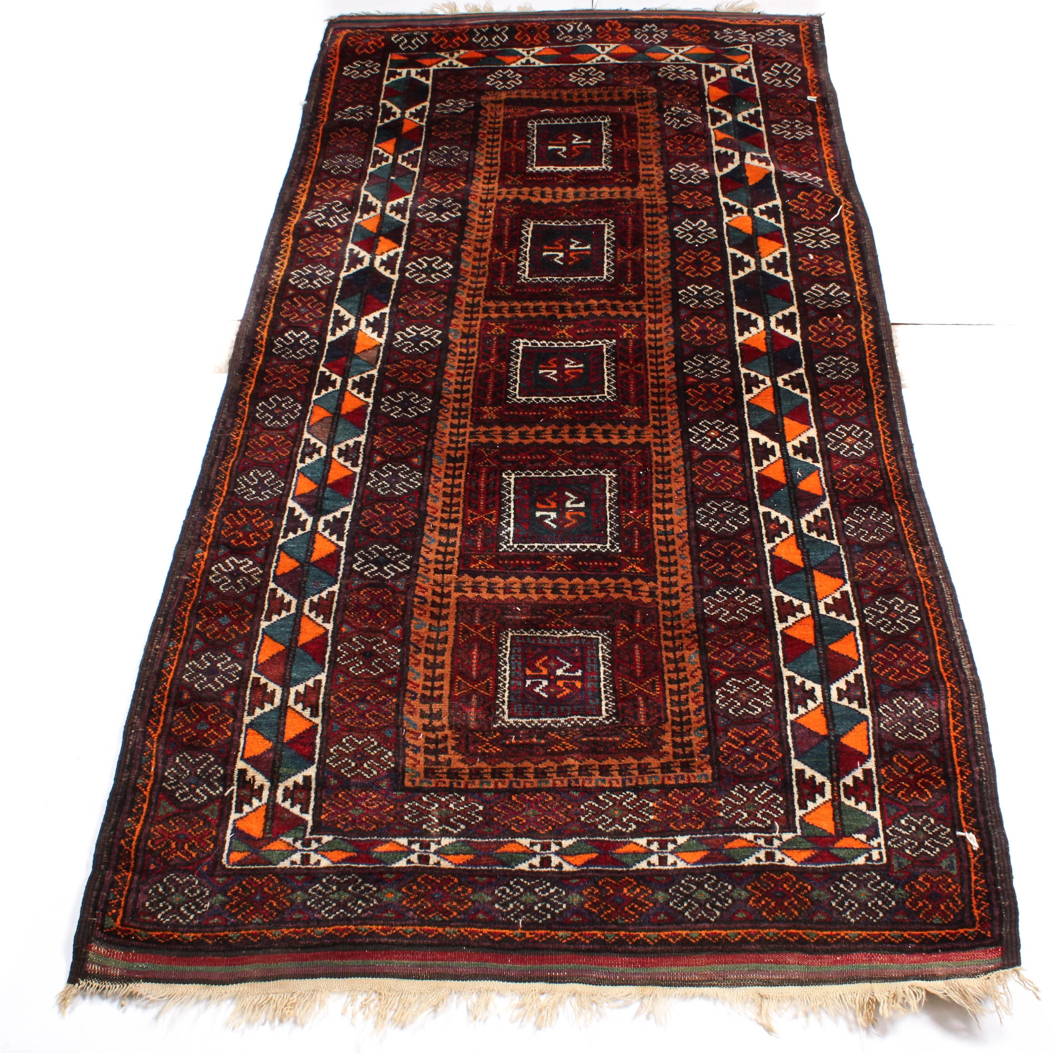 Hand-Knotted Afghan Baluch Long Rug, circa 1910