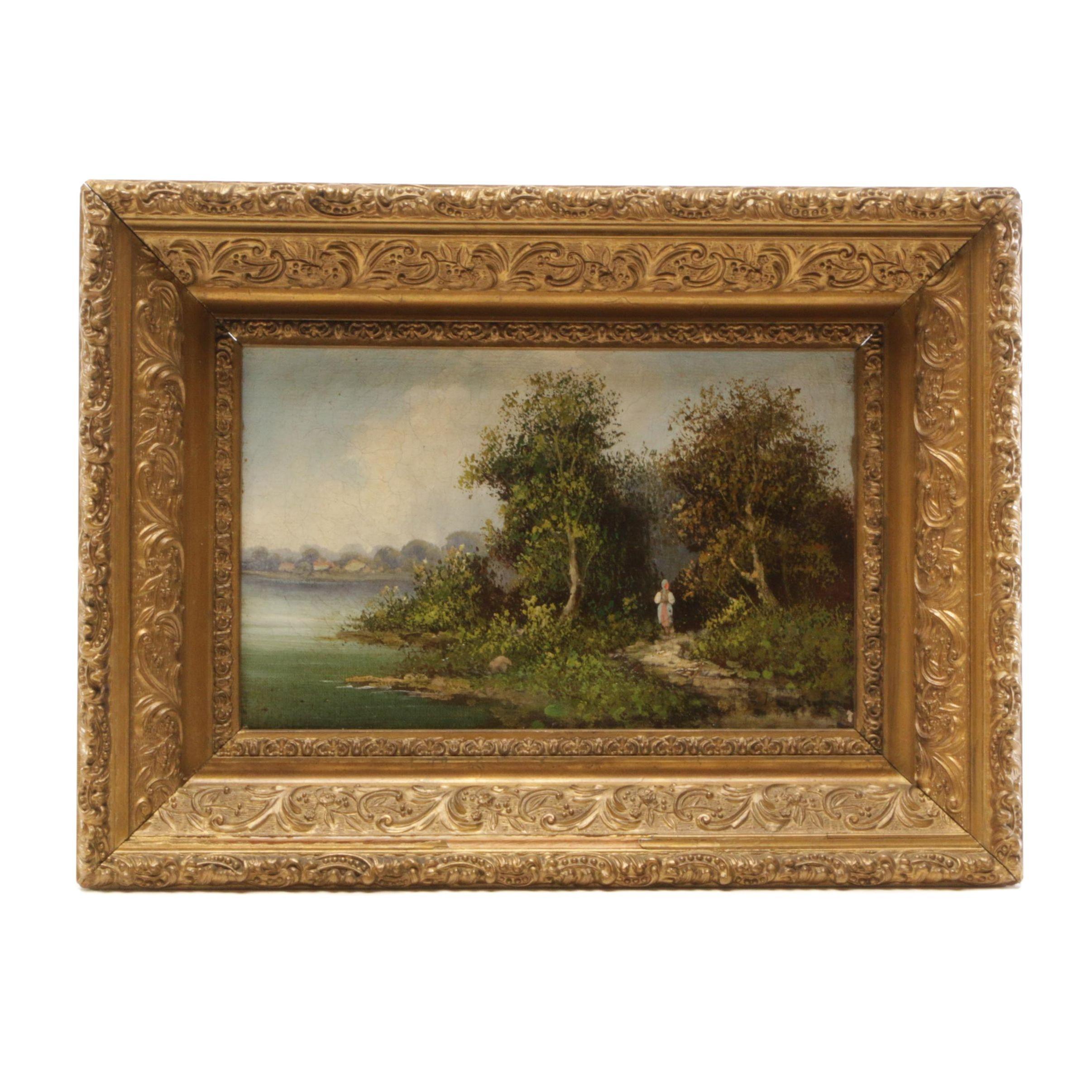 European Oil Painting of Figure in Coastal Scene