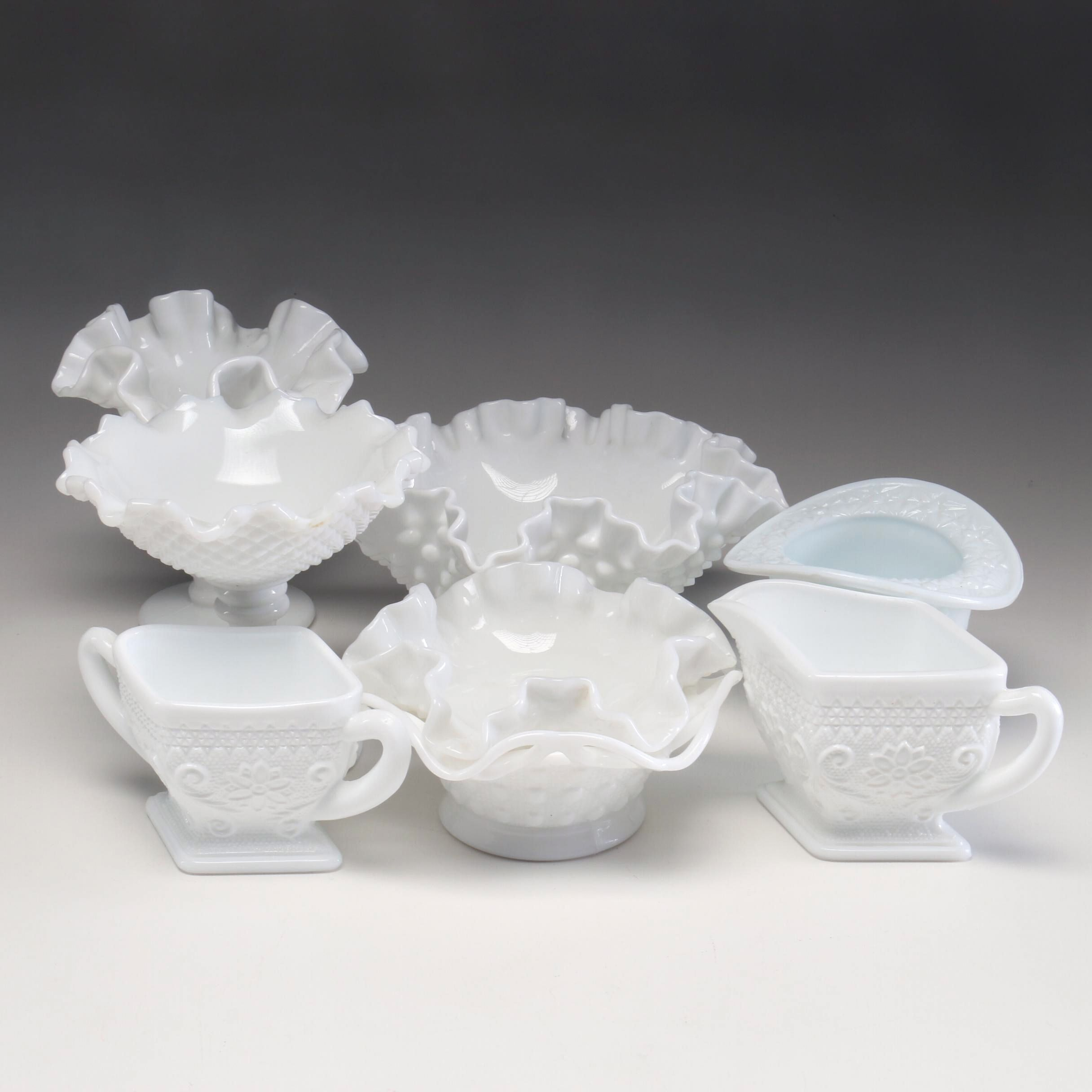 Milk Glass Serving and Presentation Pieces