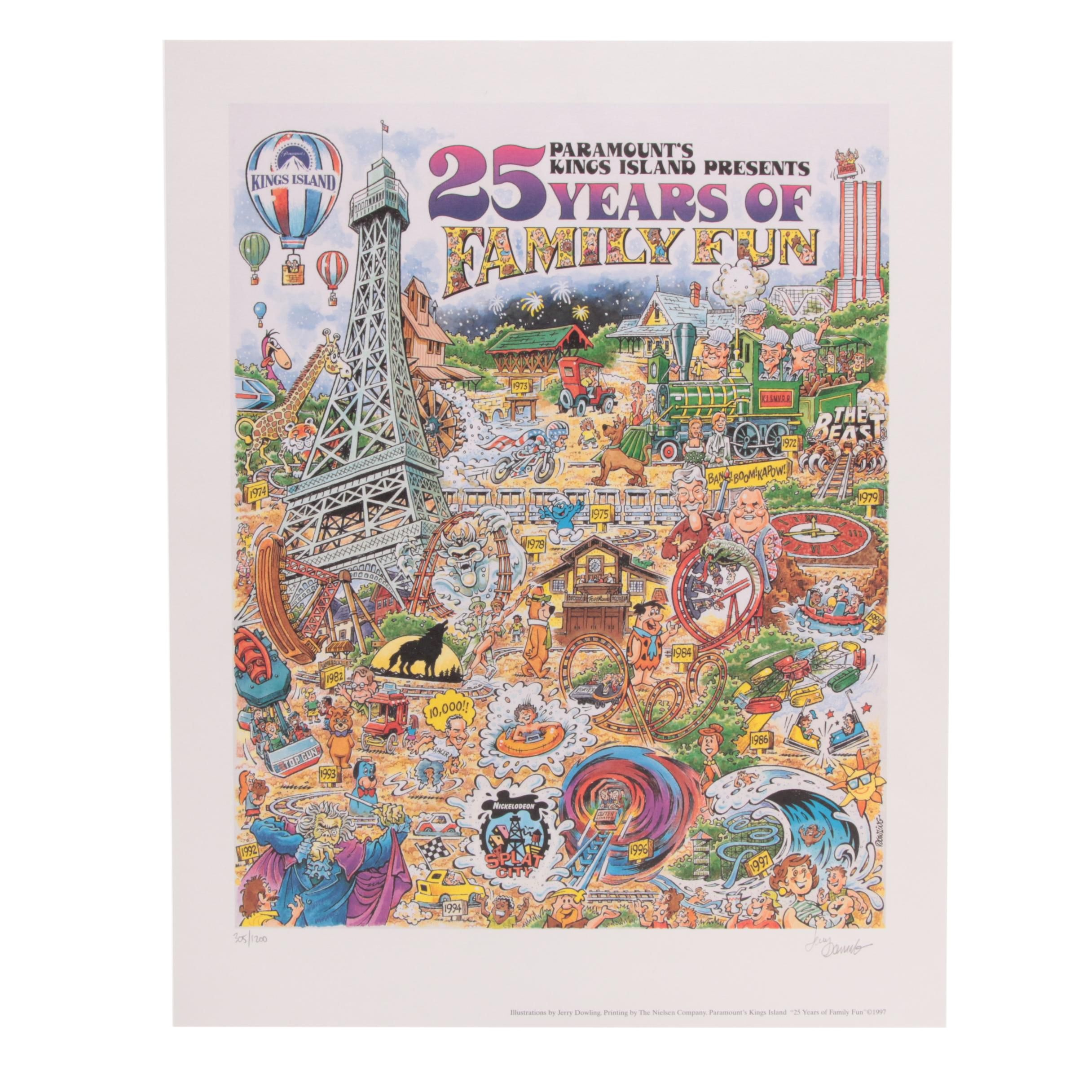 """Jerry Dowling Limited Edition Offset Lithograph """"Paramount's Kings Island..."""""""