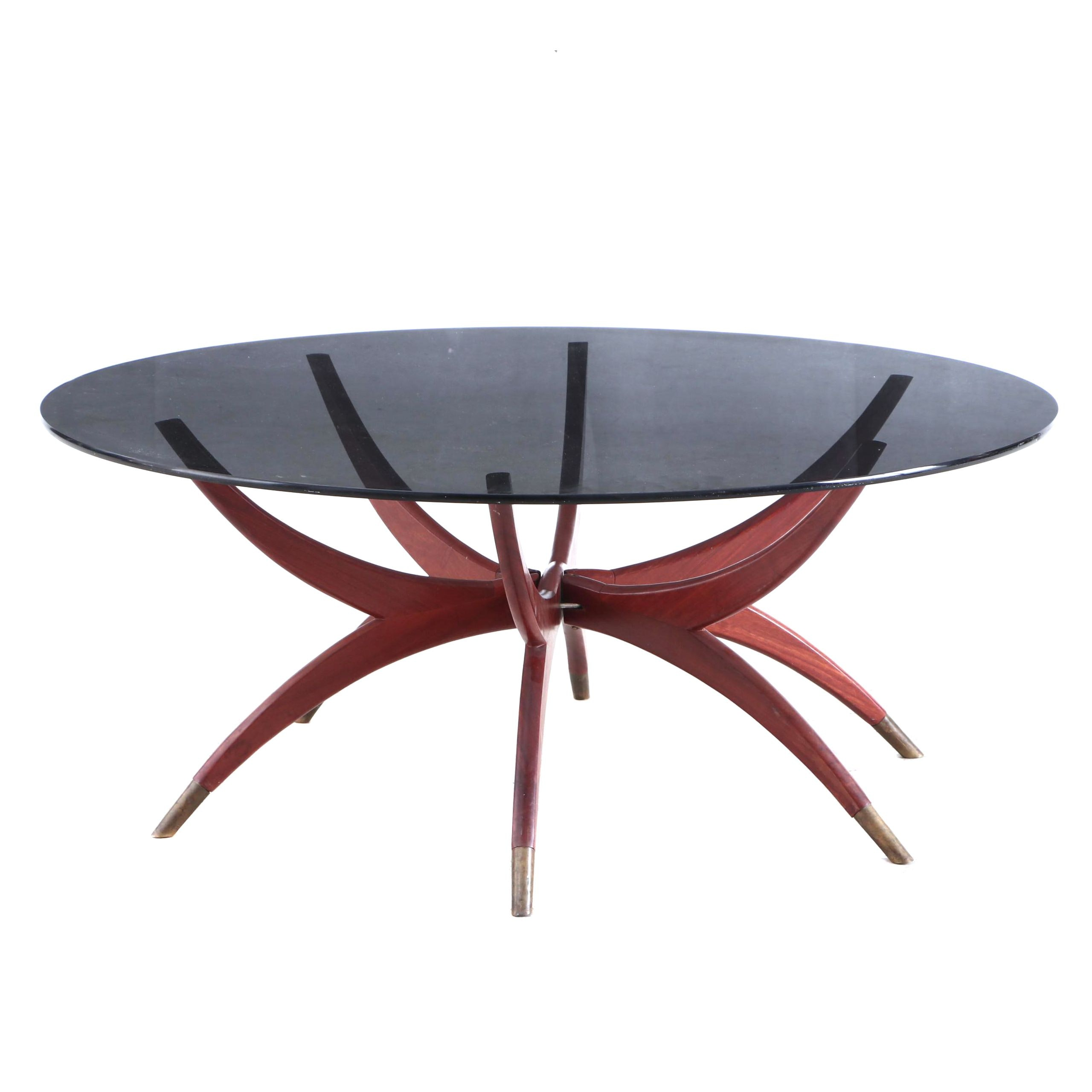 Mid Century Modern Smoke Glass Coffee Table with Folding Wood Base