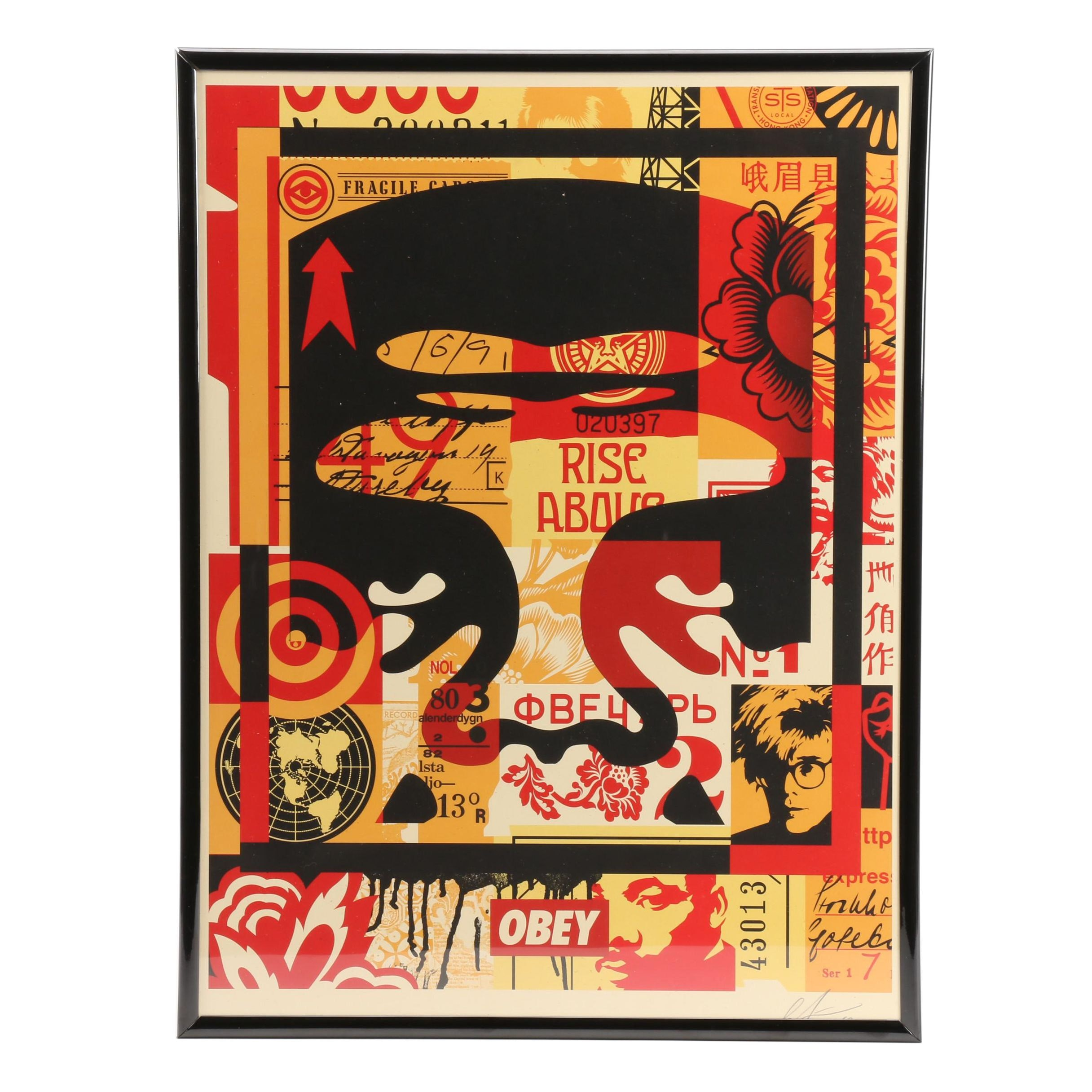 "Shepard Fairey Signed Offset Print ""Obey Face Collage"""