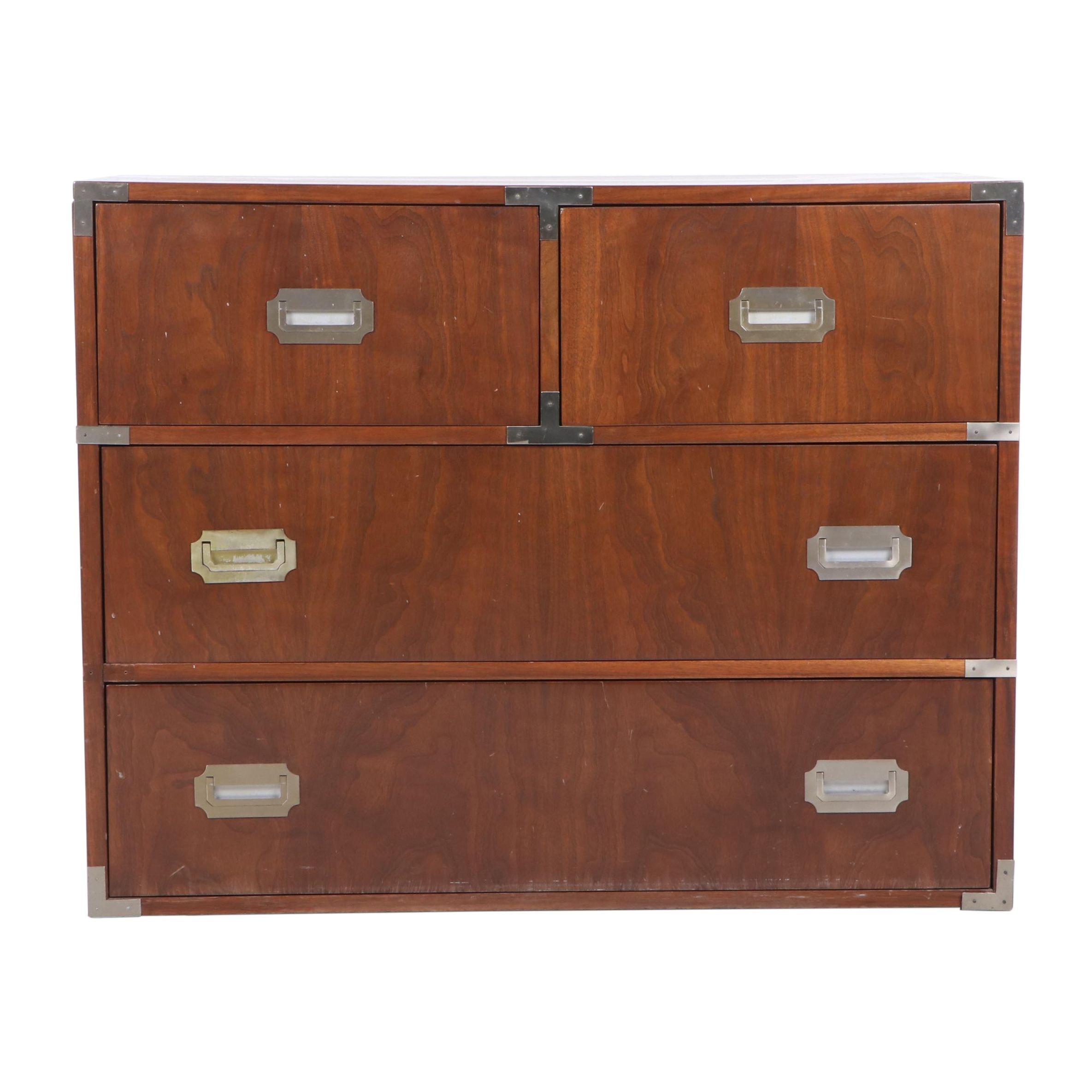 Walnut Campaign Style Dresser, Mid 20th Century