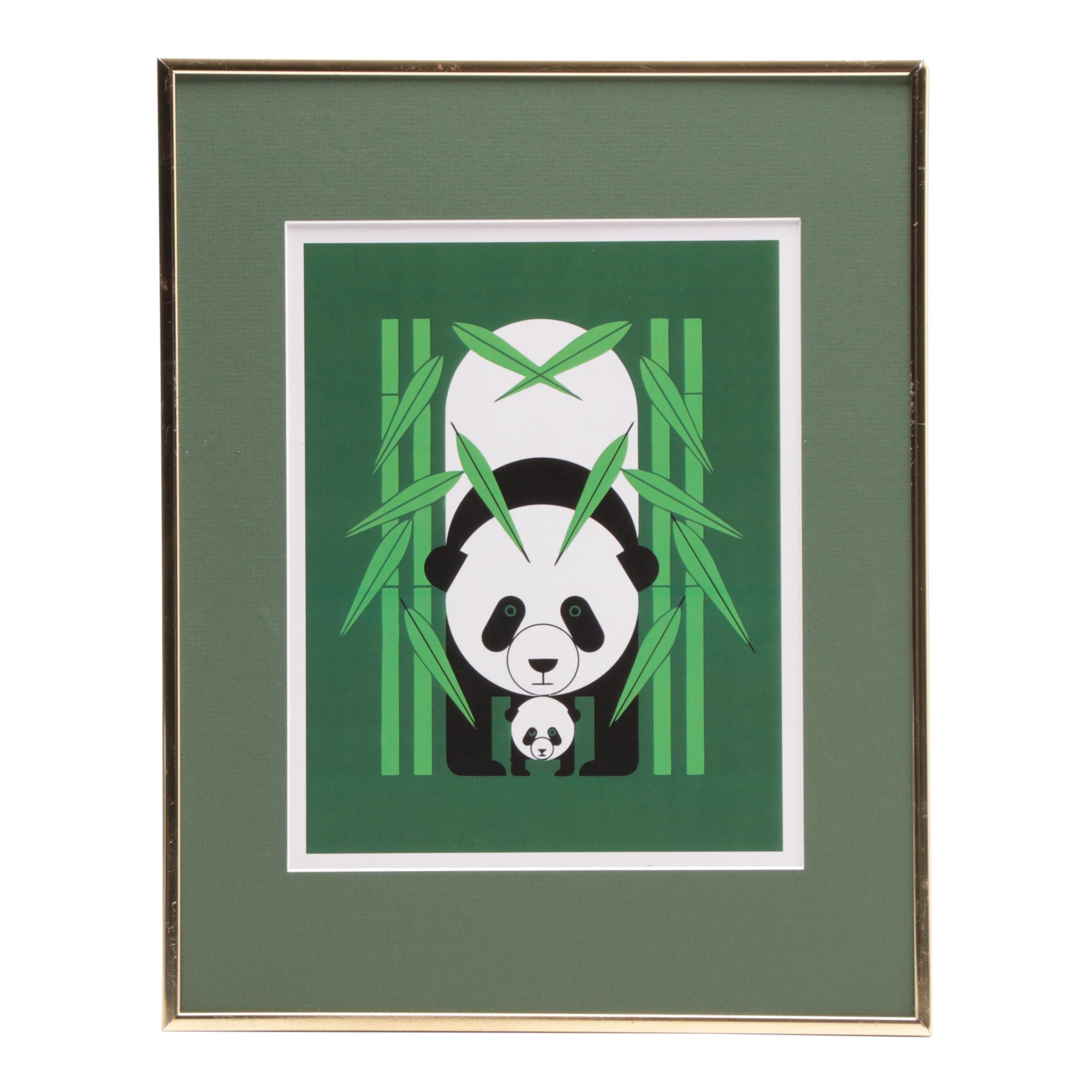 "Offset Lithograph after Charley Harper ""Panda Panda"""