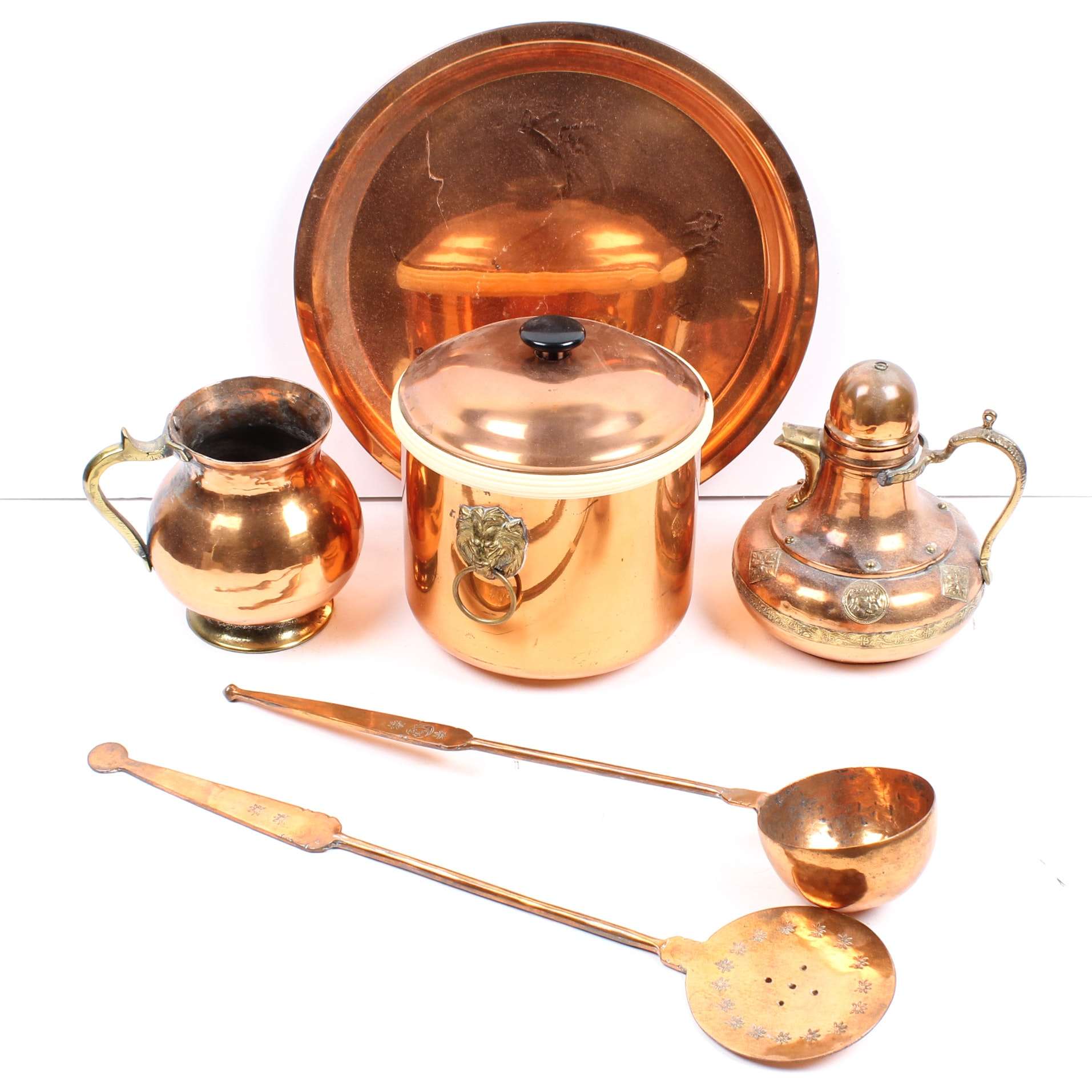 Copper Tray, Ice Bucket, Teapot & More