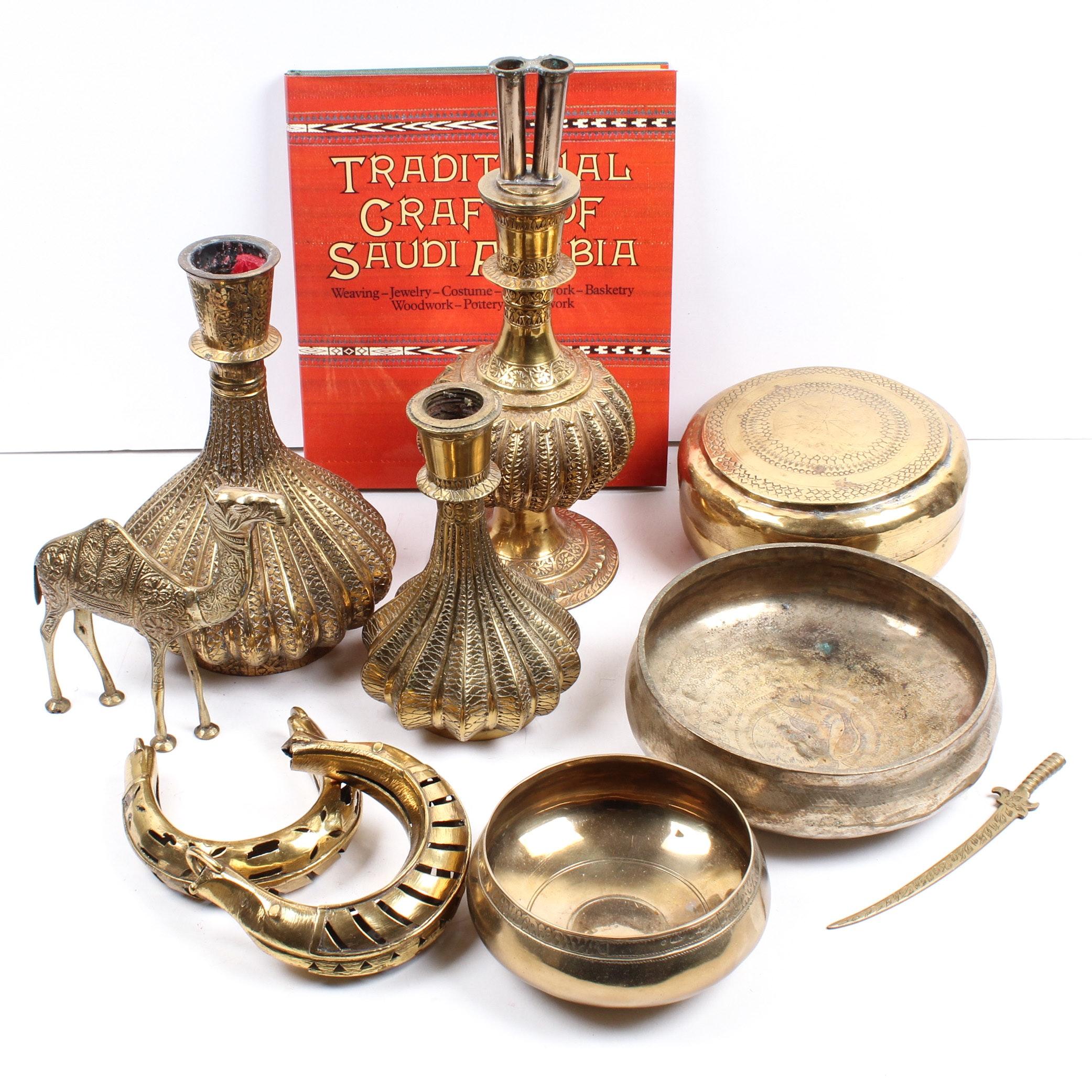 Saudi Arabian Brass Decor Featuring Camel Bracelets