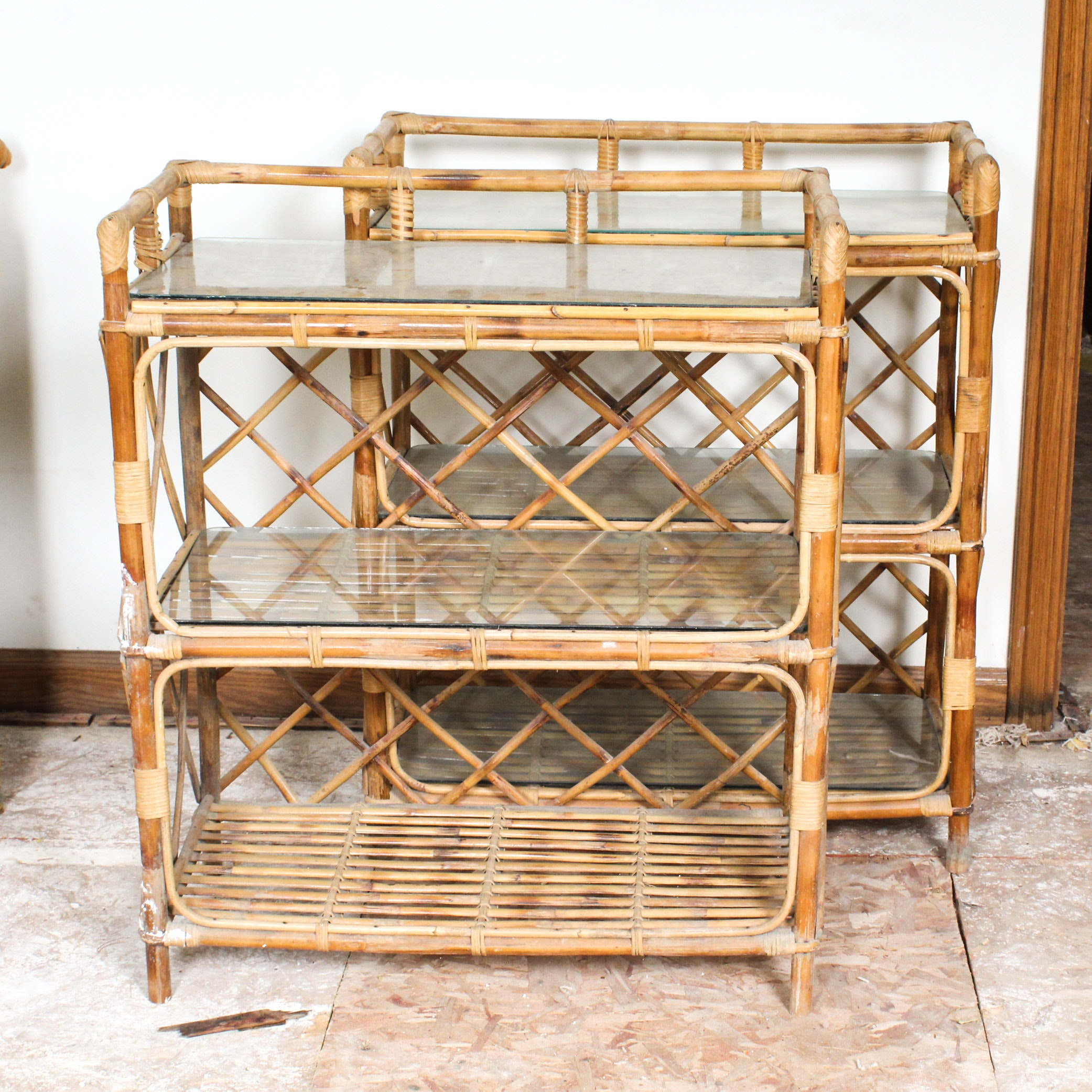 Rattan Frame Bookcases with Glass Shelves