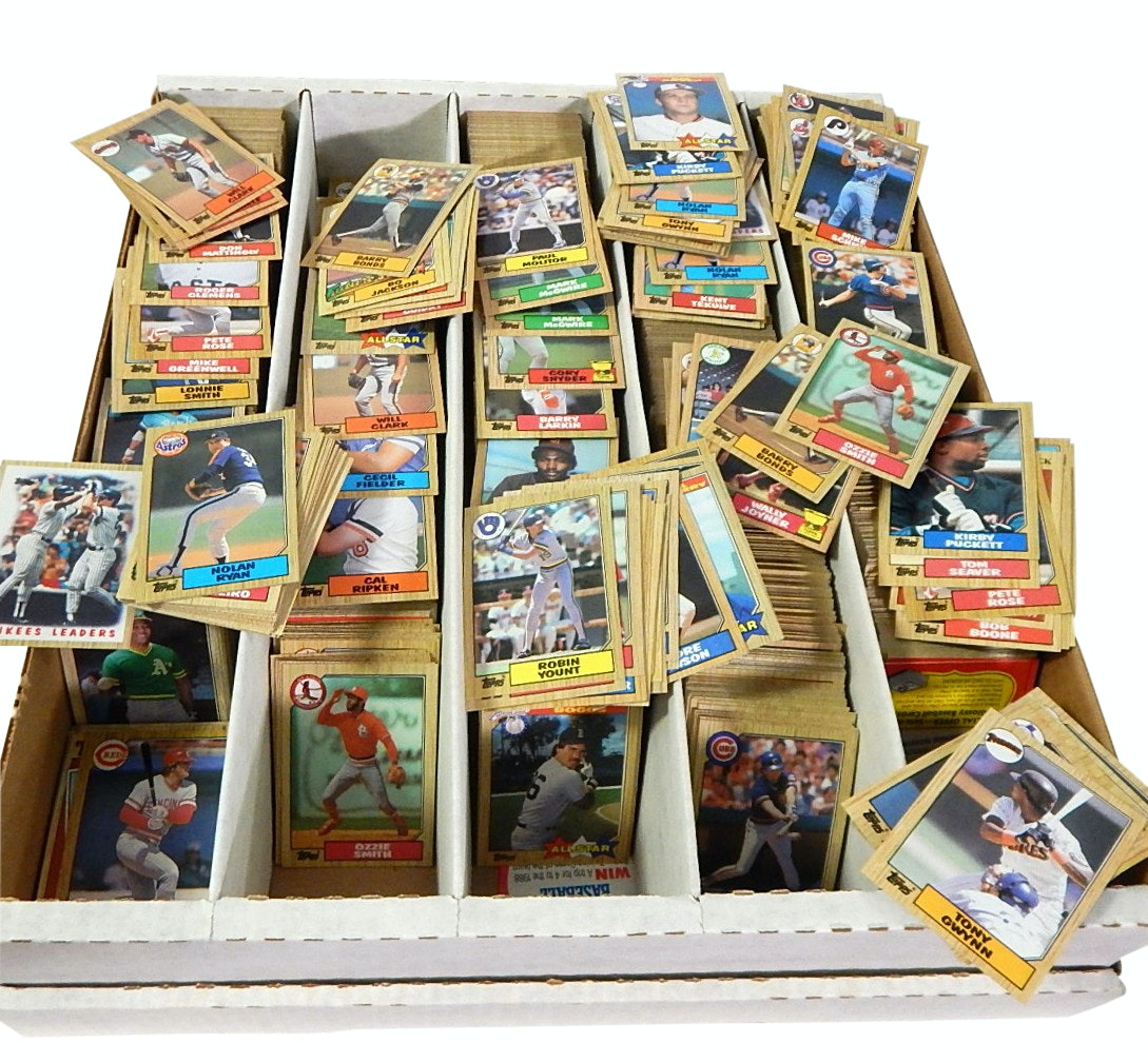 Large Box of 1987 Topps Baseball Cards with Barry Bonds Rookies