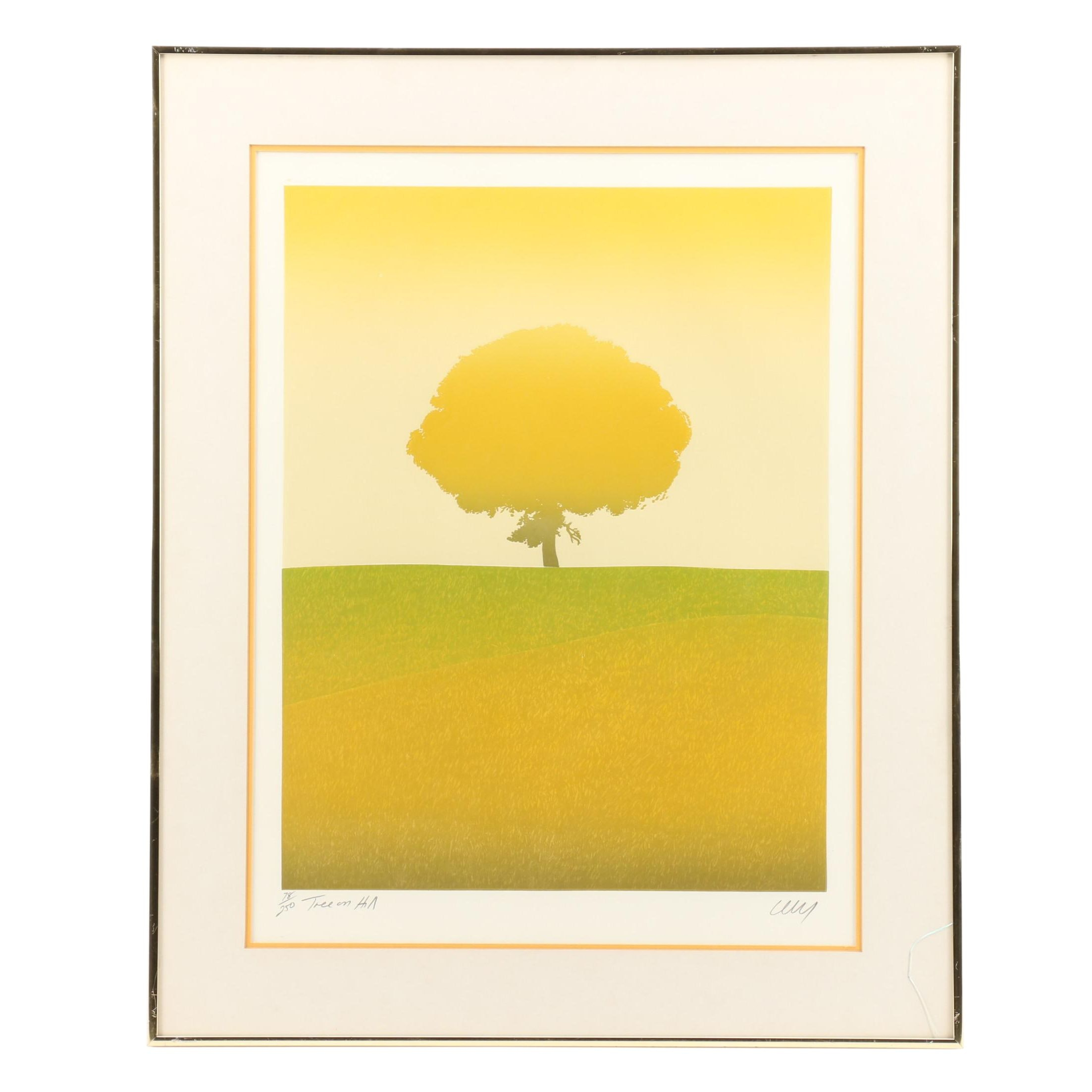 """Cecy Limited Edition Aquatint Etching """"Tree on Hill"""""""