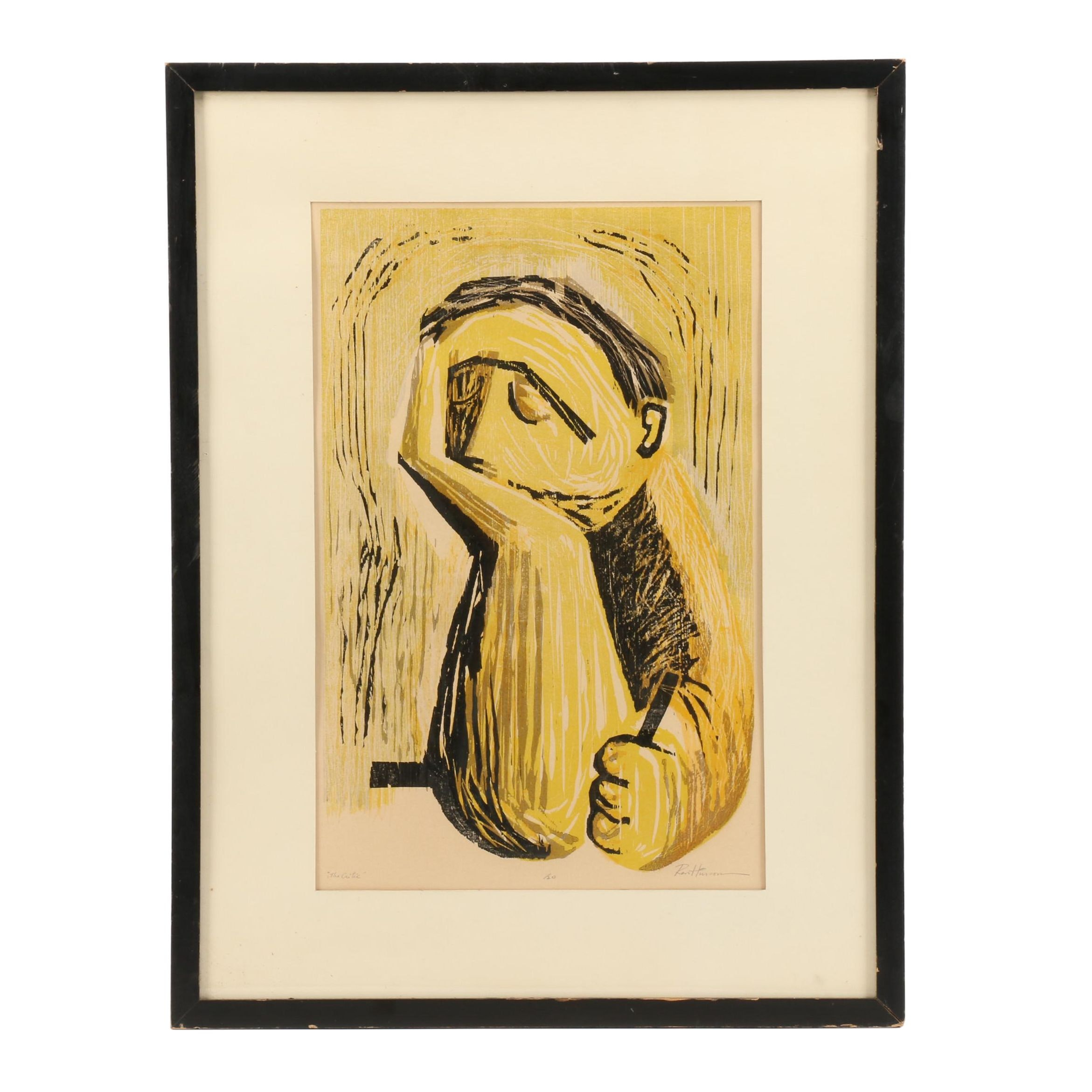 "Mid Century Woodblock ""The Critic"""