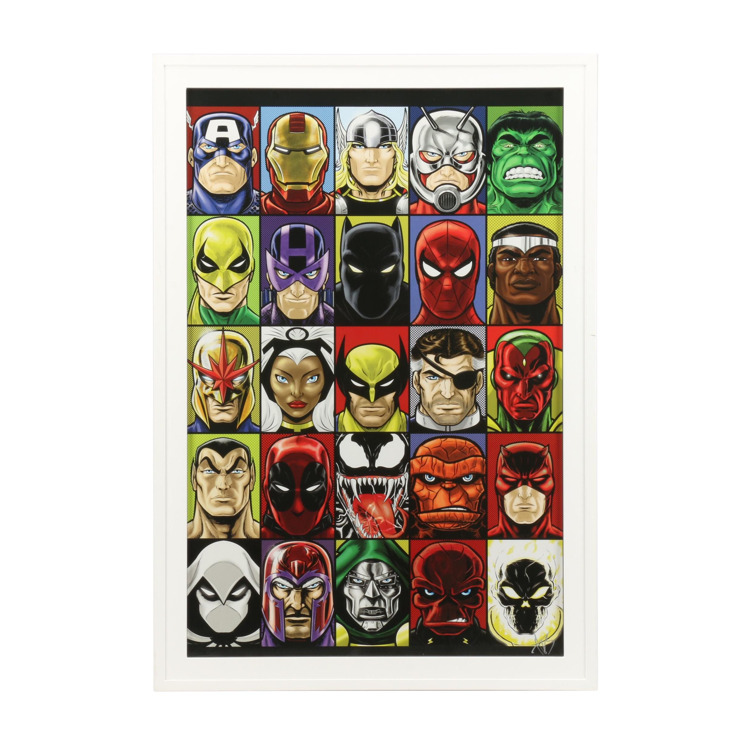 """Terry Huddleston Signed Offset Lithograph """"Faces of Marvel Comics"""""""
