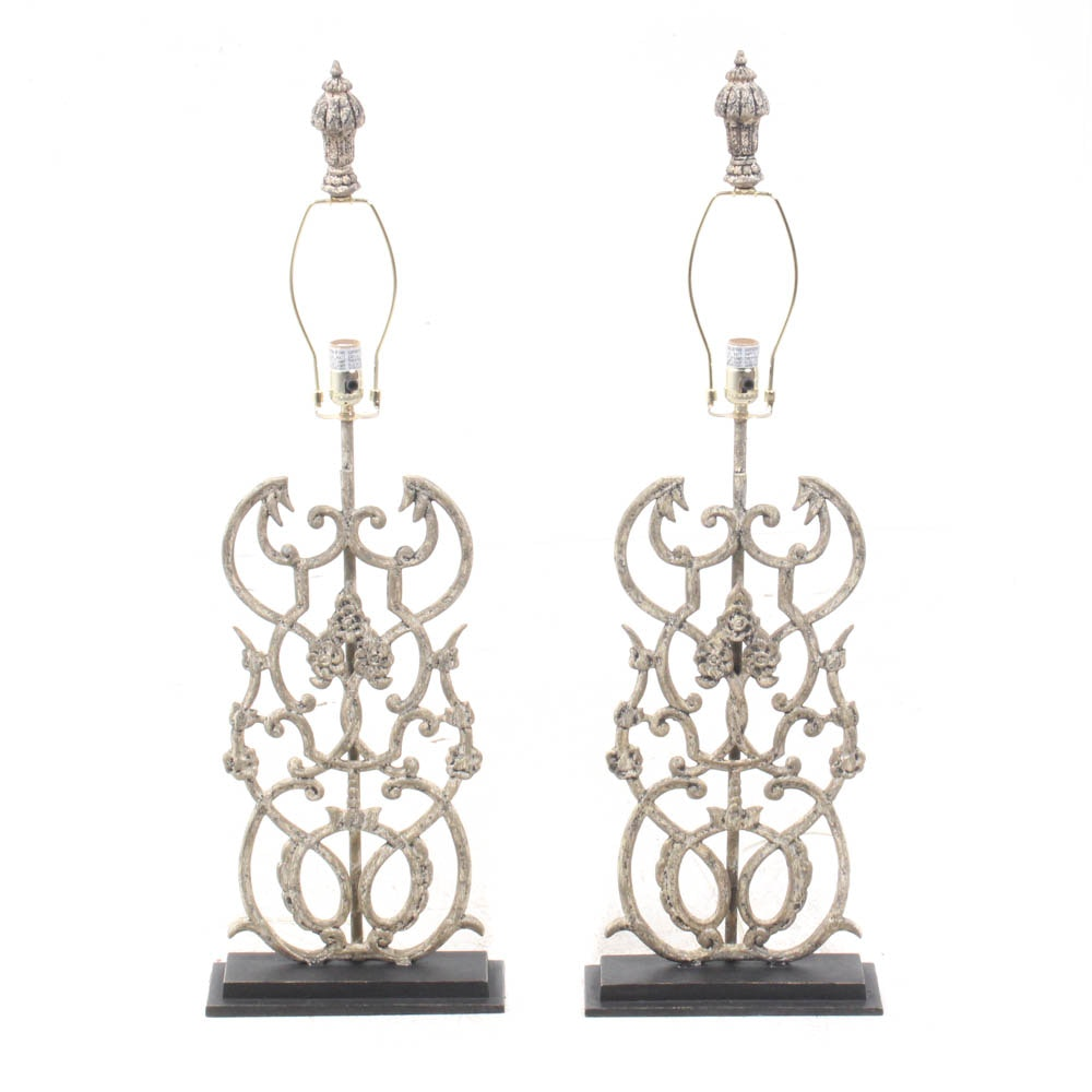 "Arhaus Furniture ""Fielding"" Cast Iron Table Lamps"
