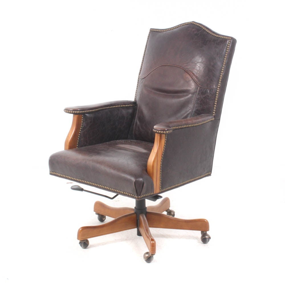 Arhaus Furniture Studded Leather Office Chair