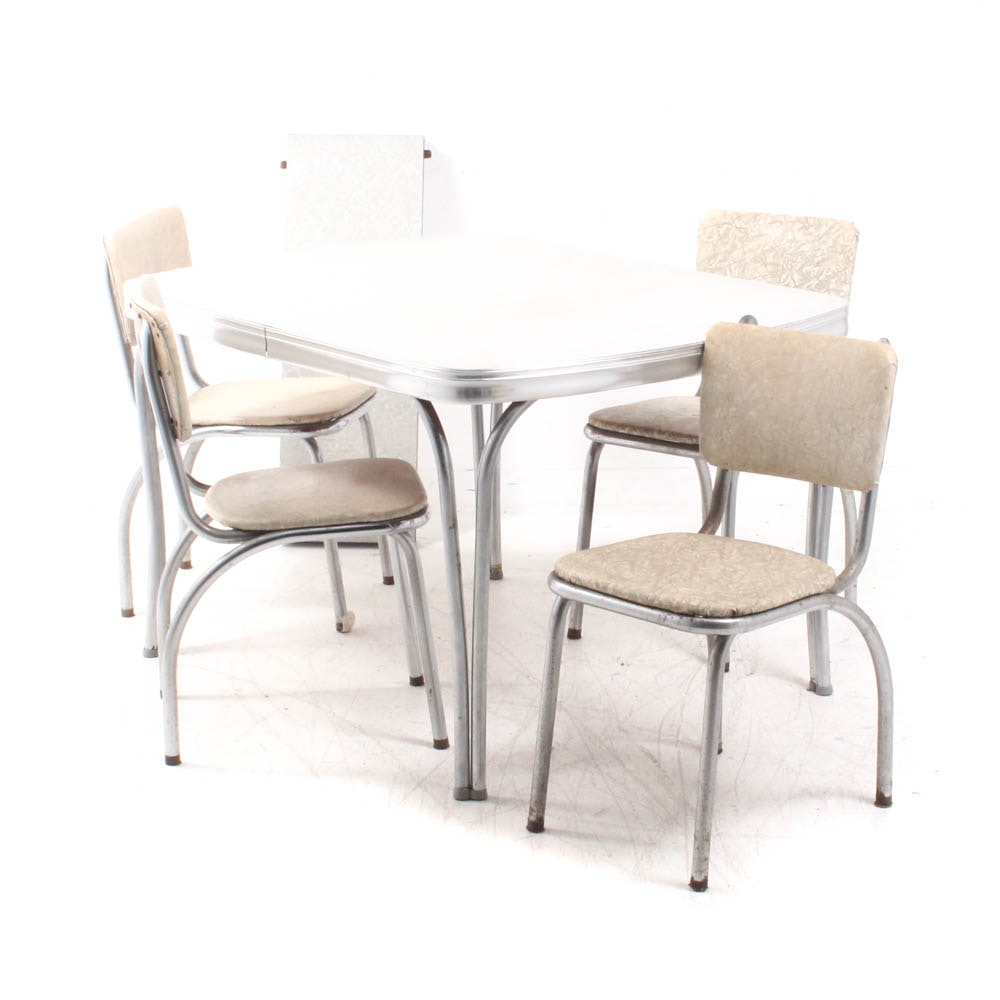 Synthetic Topped Dining Table with Four Side Chairs