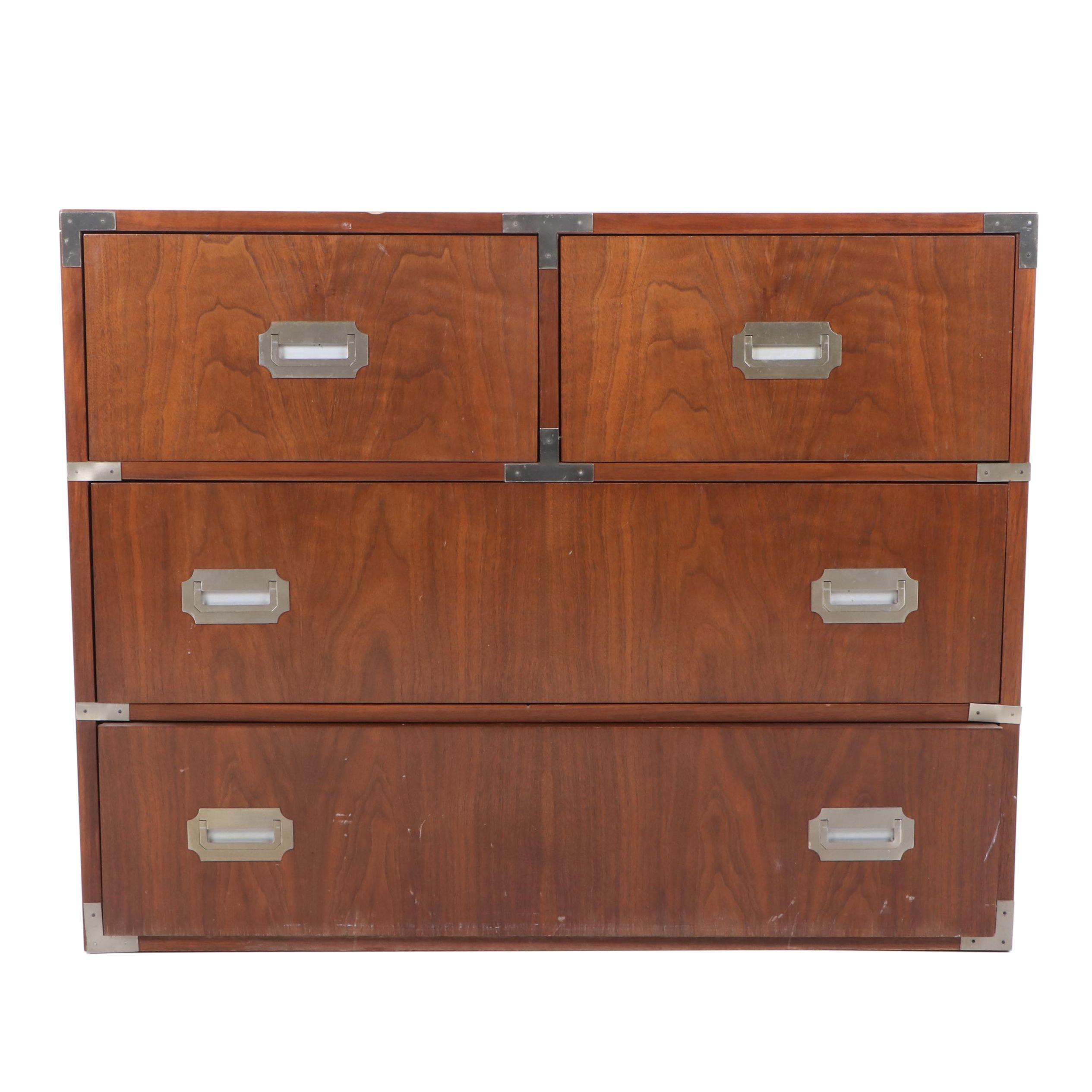 Campaign Style Walnut Dresser, Mid 20th Century