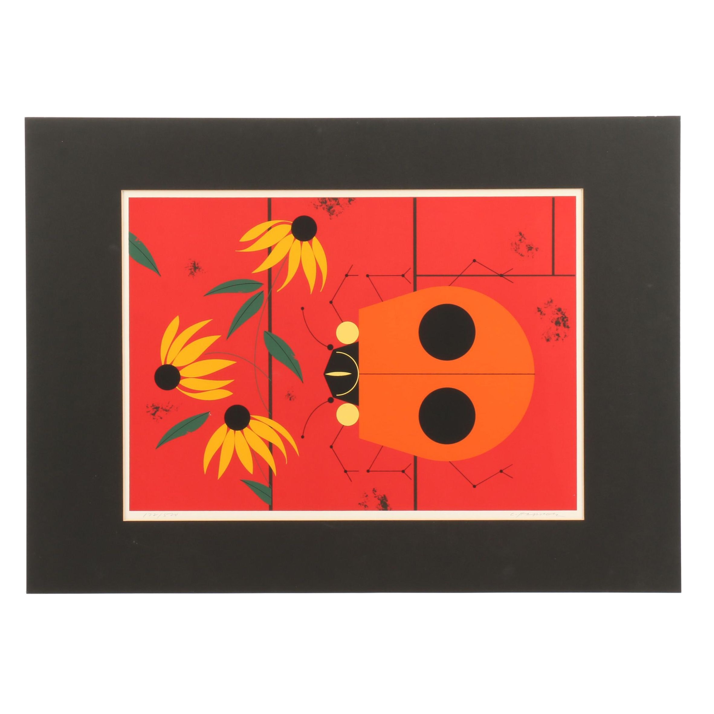 "Charley Harper Limited Edition Serigraph ""Bug That Bugs Nobody"""