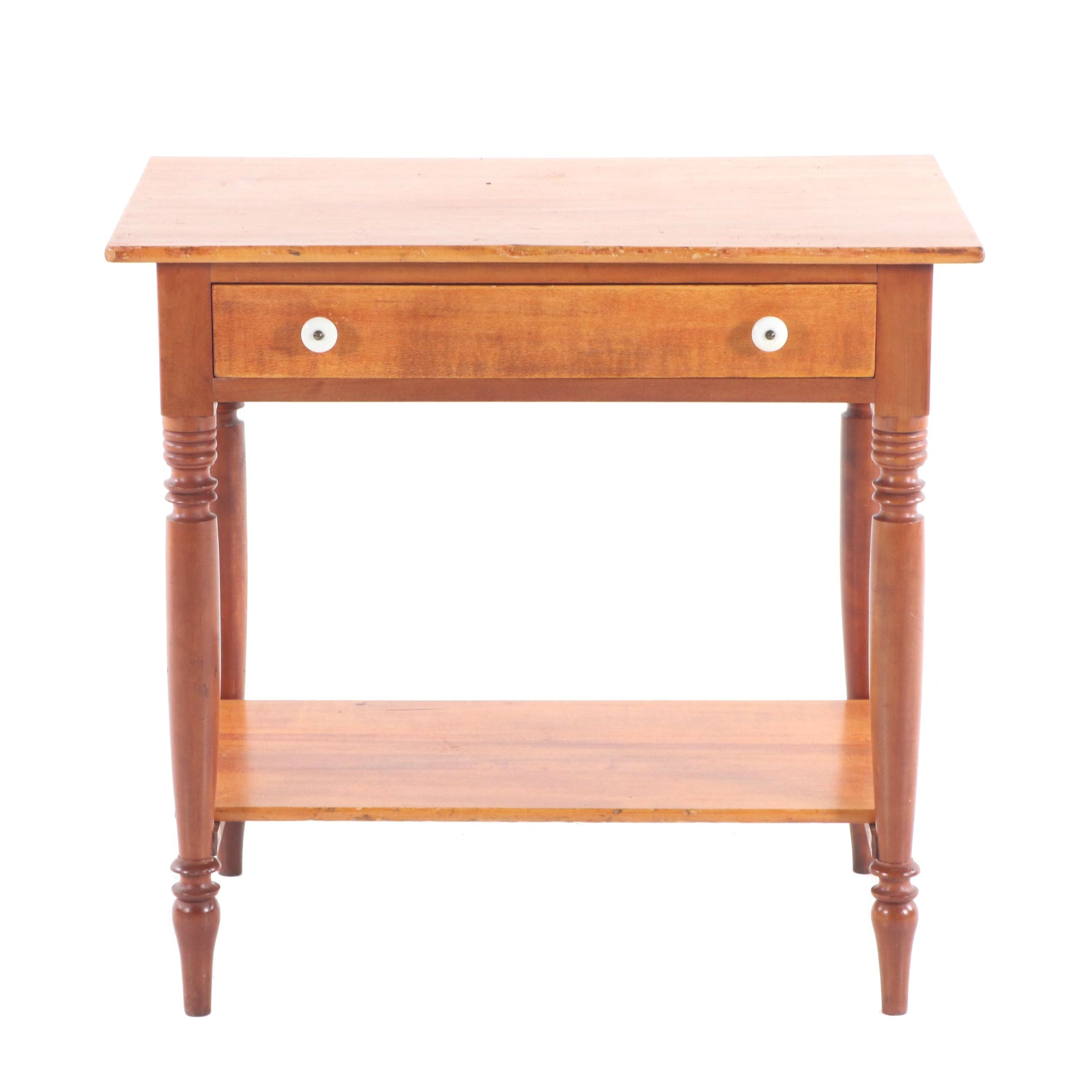 Federal Style Maple Side Table with Drawer, Early 20th Century