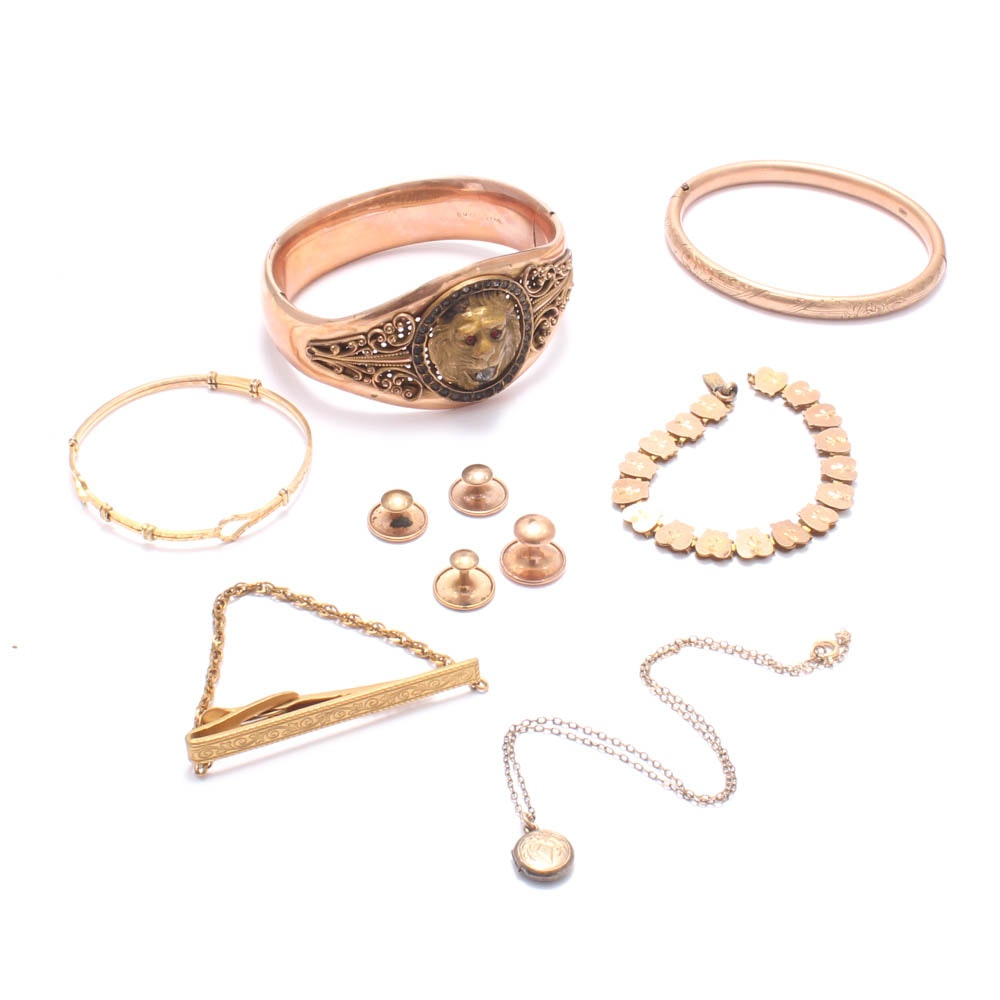 Gold Tone Costume Jewelry Including 12K Gold-Filled Necklace and Bracelet