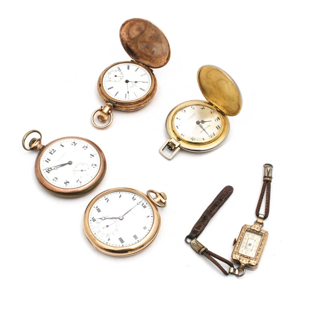 Vintage Pocket Watches by Andre Revalle, Elgin, and Hamilton