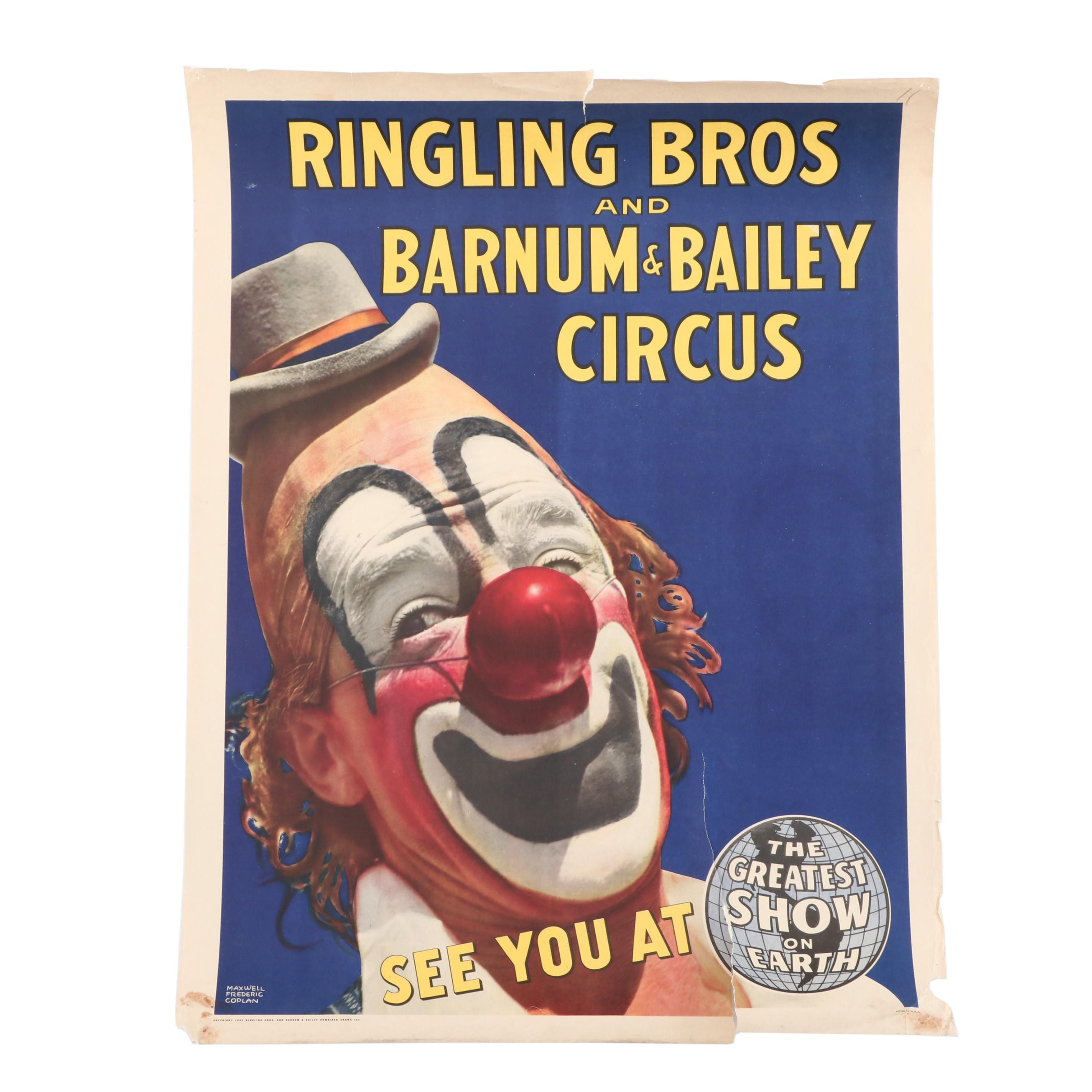 1944 Advertising Poster for Ringling Bros and Barnum & Bailey Circus