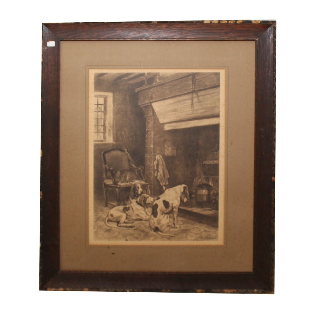 Print of Dogs and Cat Around Fireplace