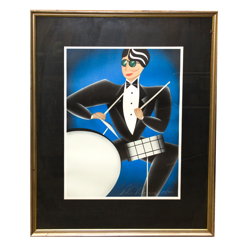 "Robin Morris Lithograph ""Cool Blue"""