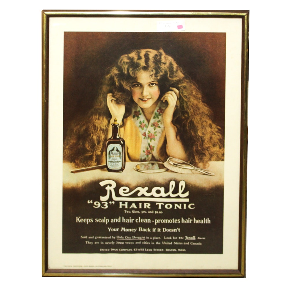 "Vintage Rexall ""93"" Hair Tonic Poster"