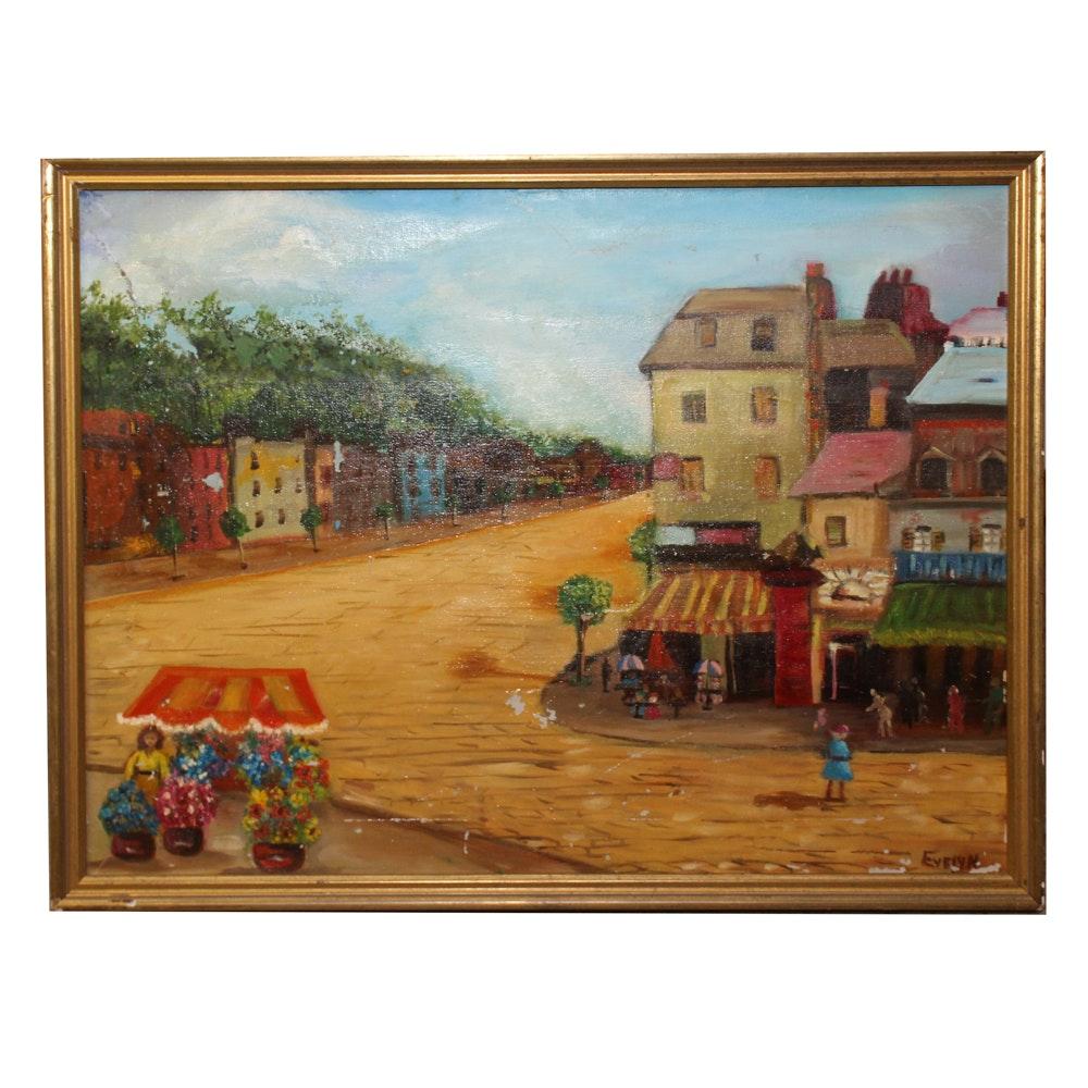Oil on Painting of Street Scene