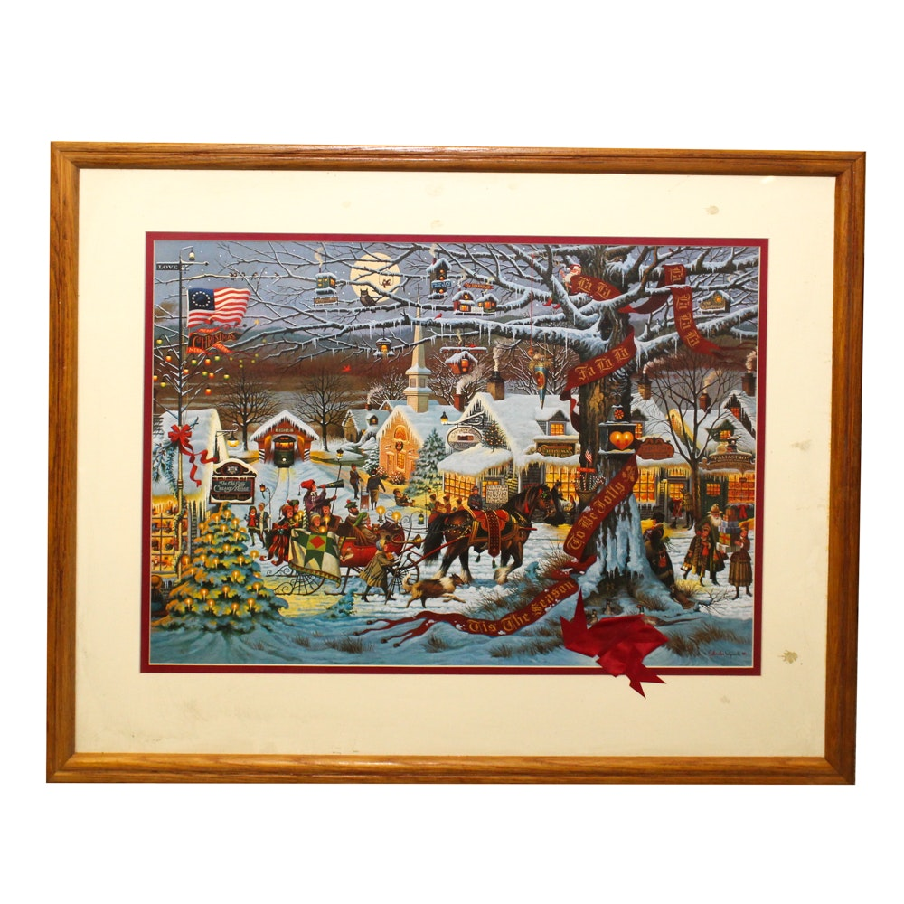 "Charles Wysocki Lithograph ""Small Town Christmas"""