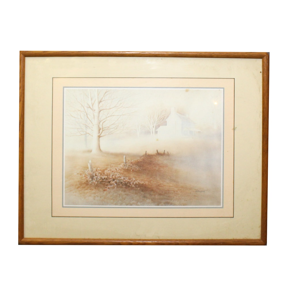W.S. Dougherty Offset Lithograph of Rural Scene