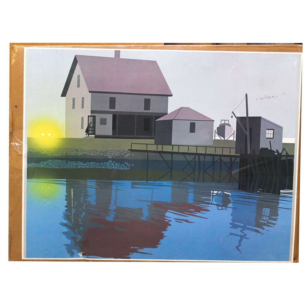 Donald Art Company Lithograph of House on Water