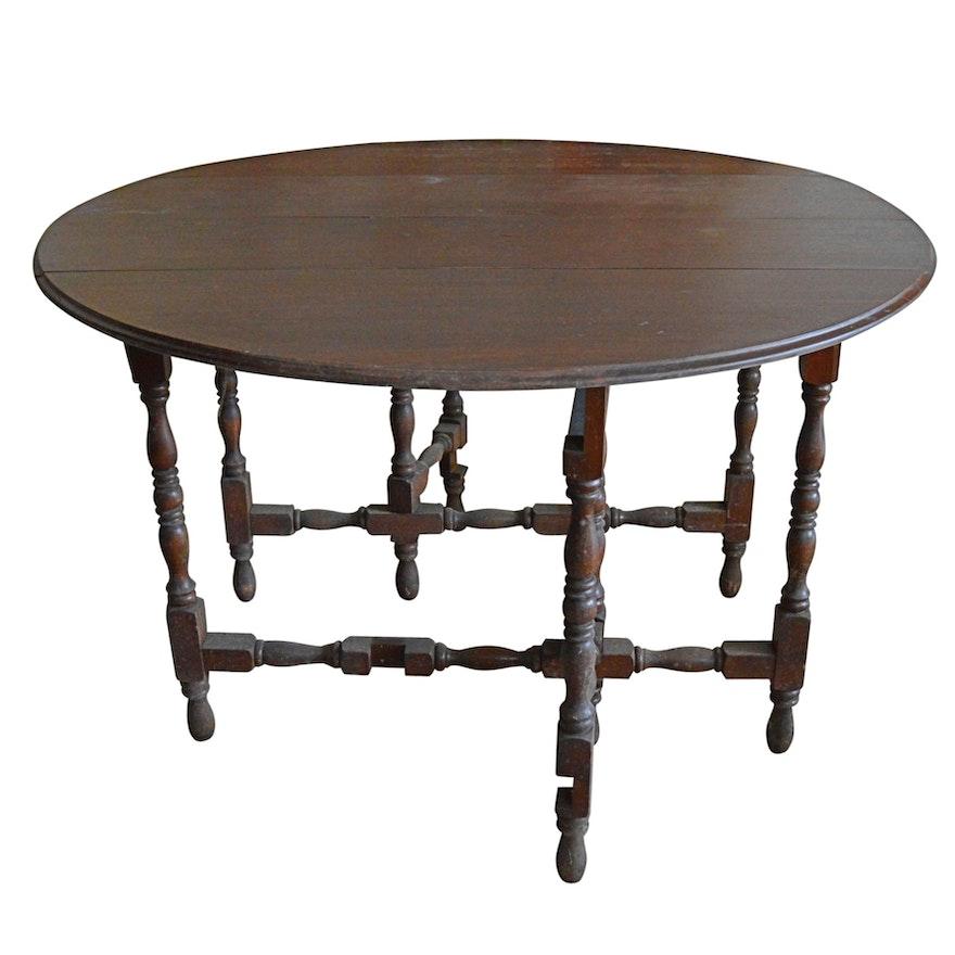 Vintage Mahogany Gateleg Dropleaf Dining Table