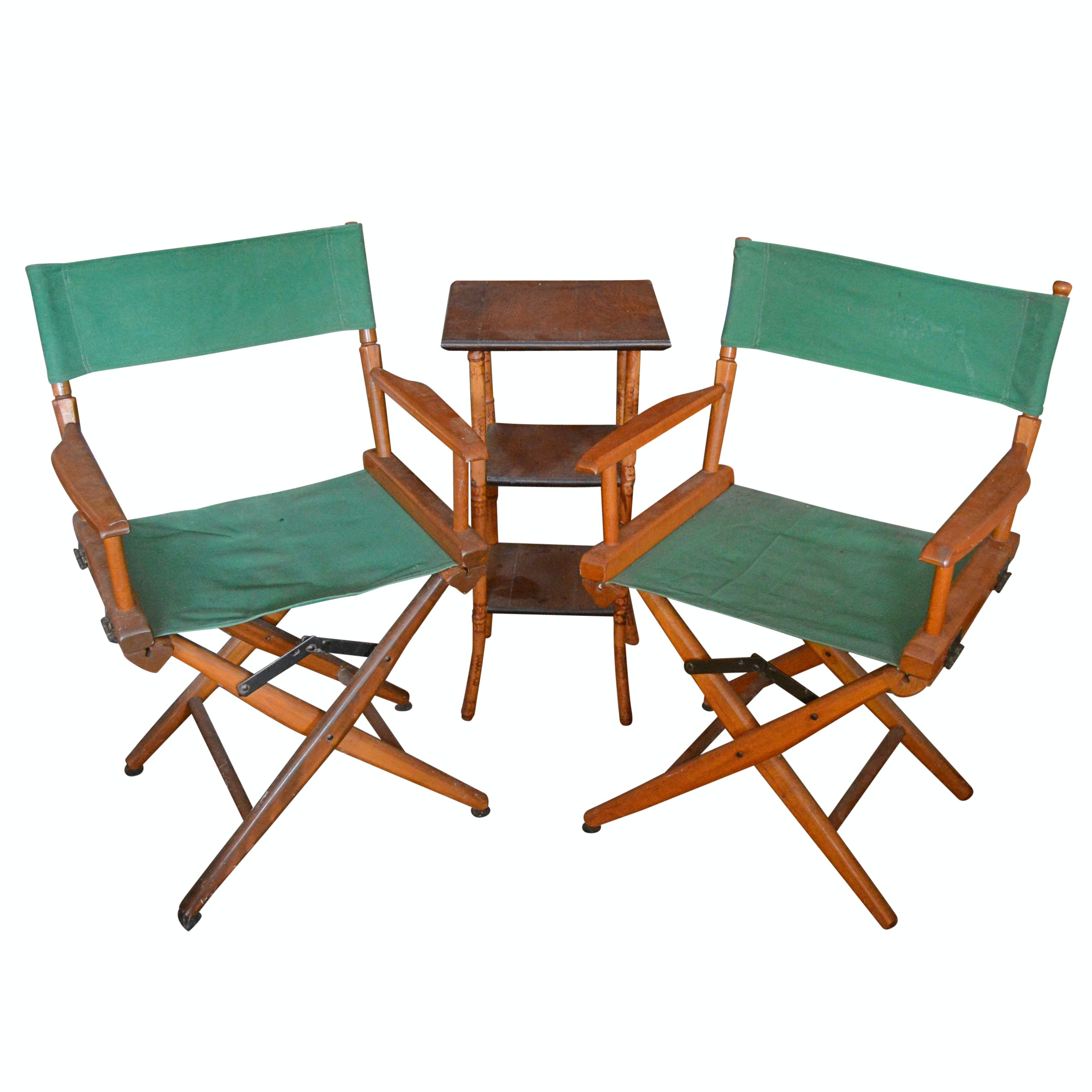 Pair of Vintage Director's Chairs with Bamboo Side Table
