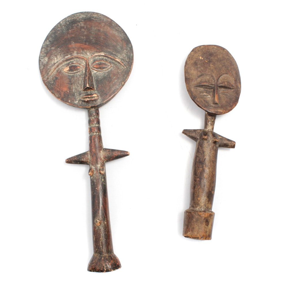 20th Century Wooden Ashanti Akua'Ba Fertility Doll